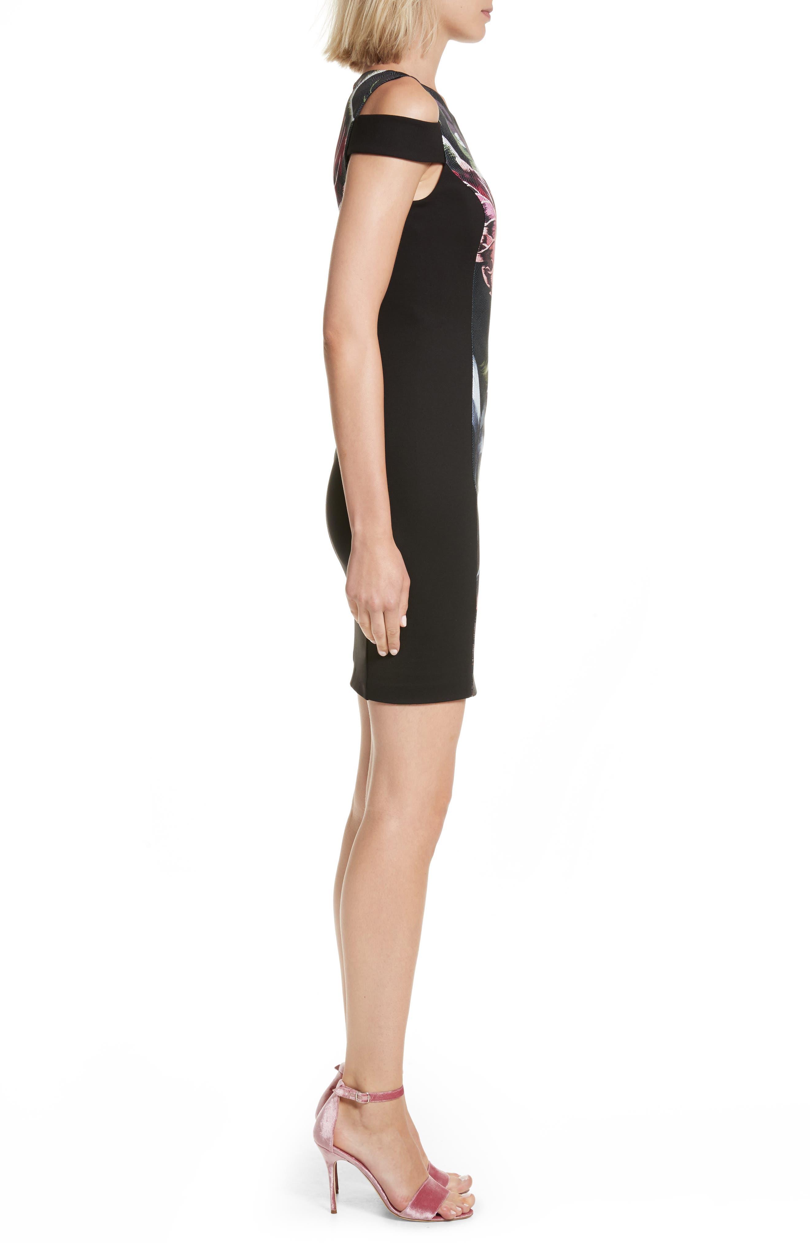 Leeash Eden Body Con Dress,                             Alternate thumbnail 3, color,                             Black