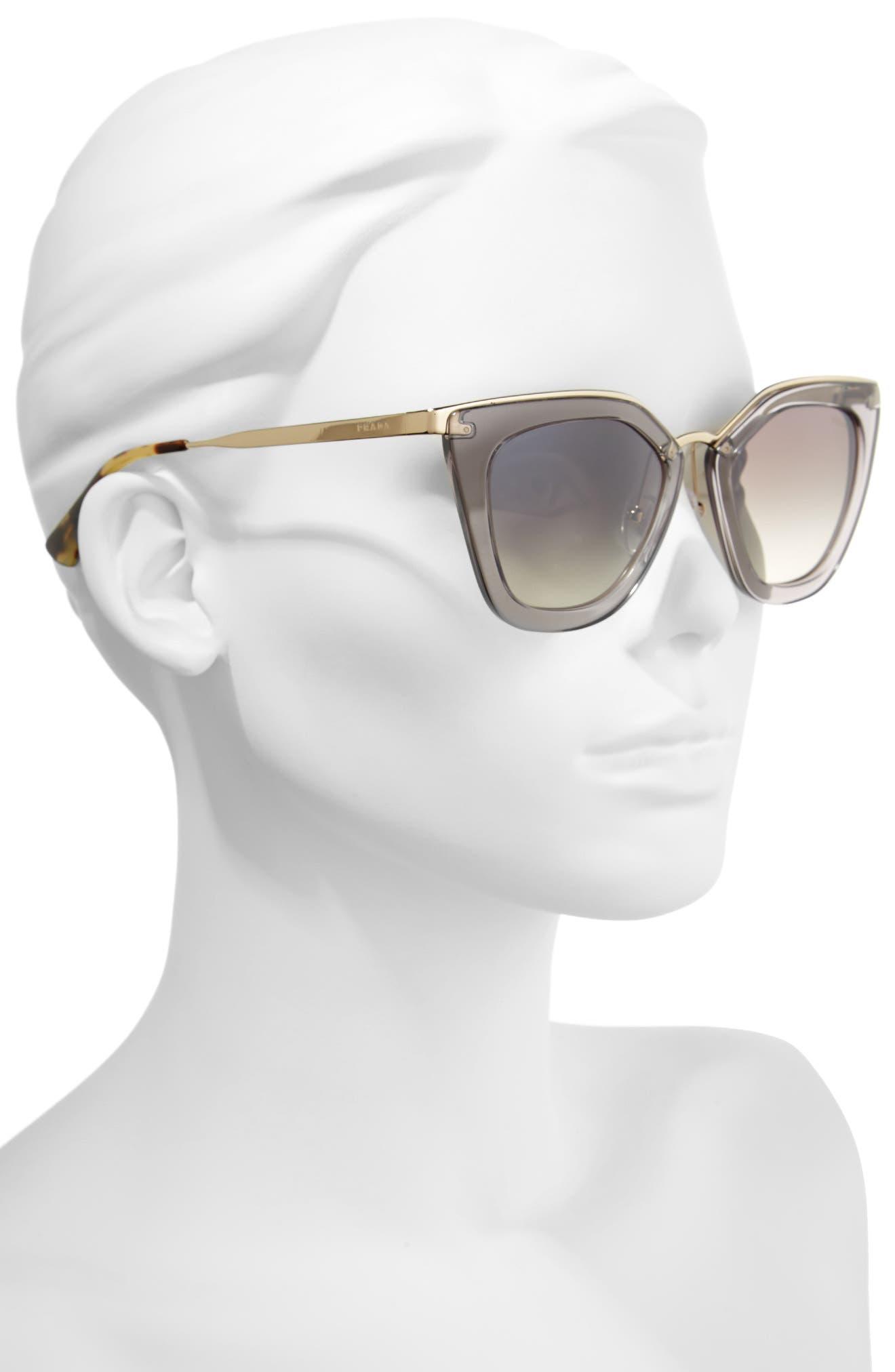 52mm Gradient Cat Eye Sunglasses,                             Alternate thumbnail 2, color,                             Transparent Grey