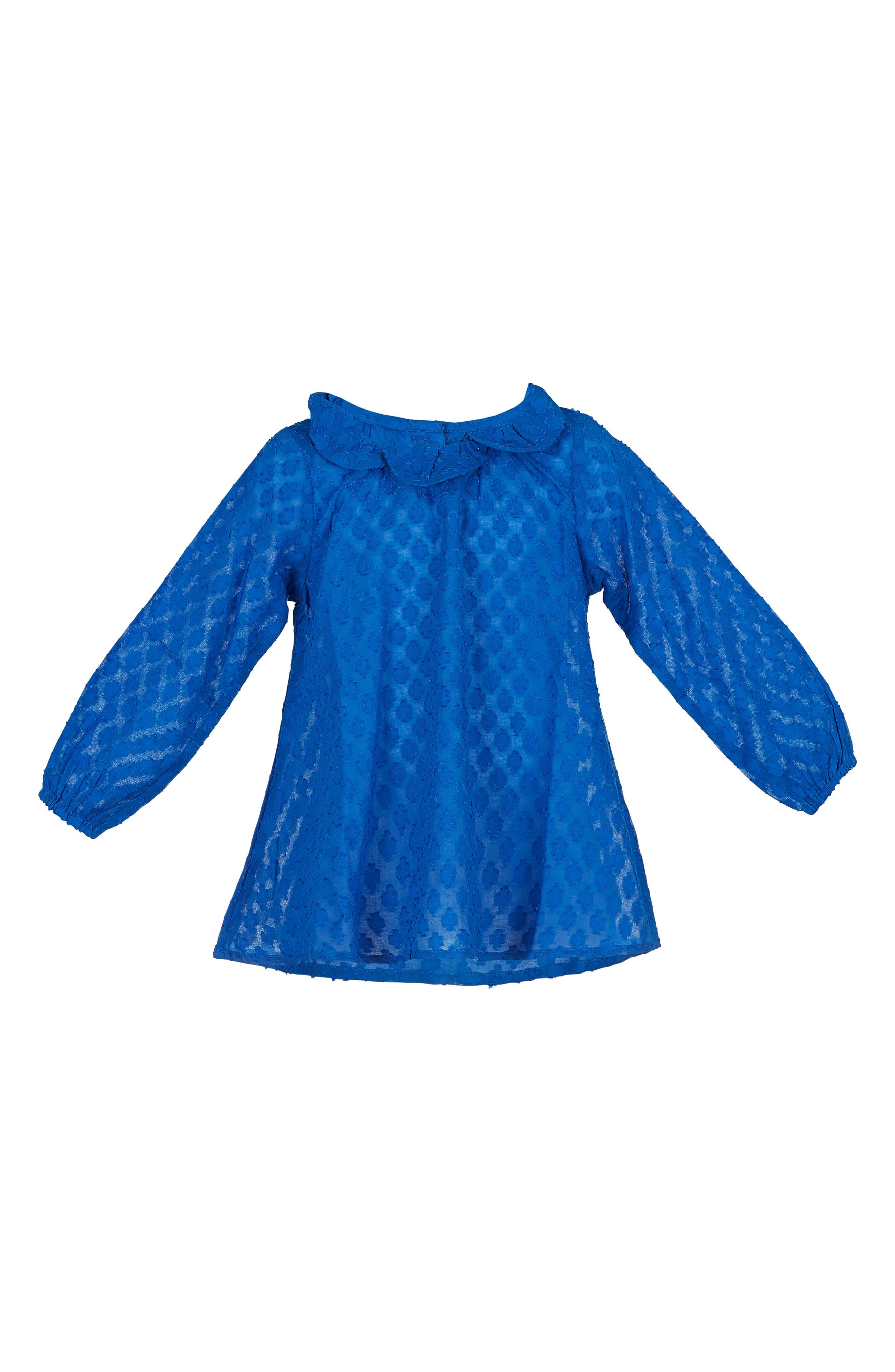 Daisy Petal Collar Dobby Top,                         Main,                         color, Blue