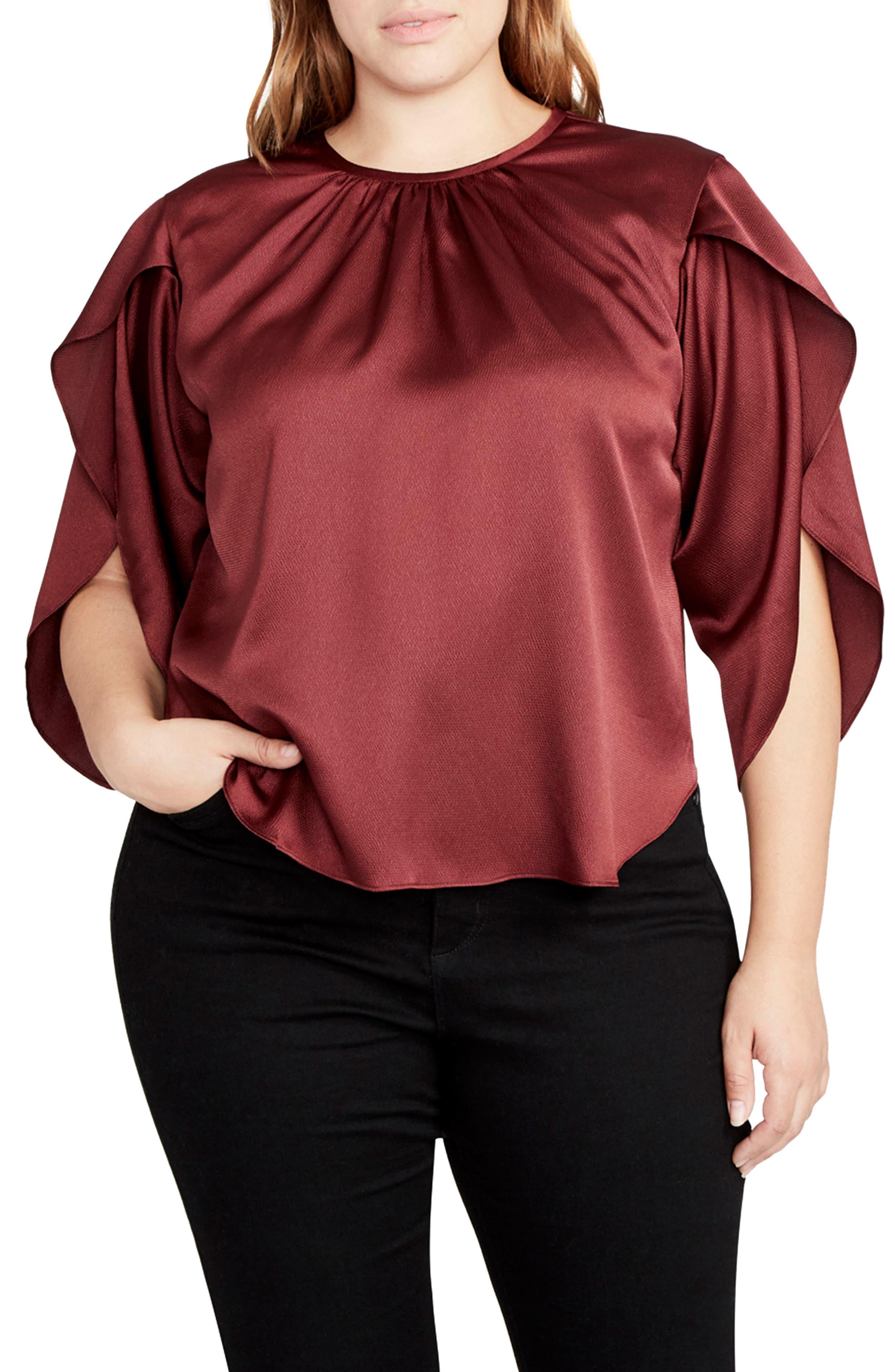 RACHEL Rachel Roy Julia Satin Split Flutter Sleeve Top (Plus Size)