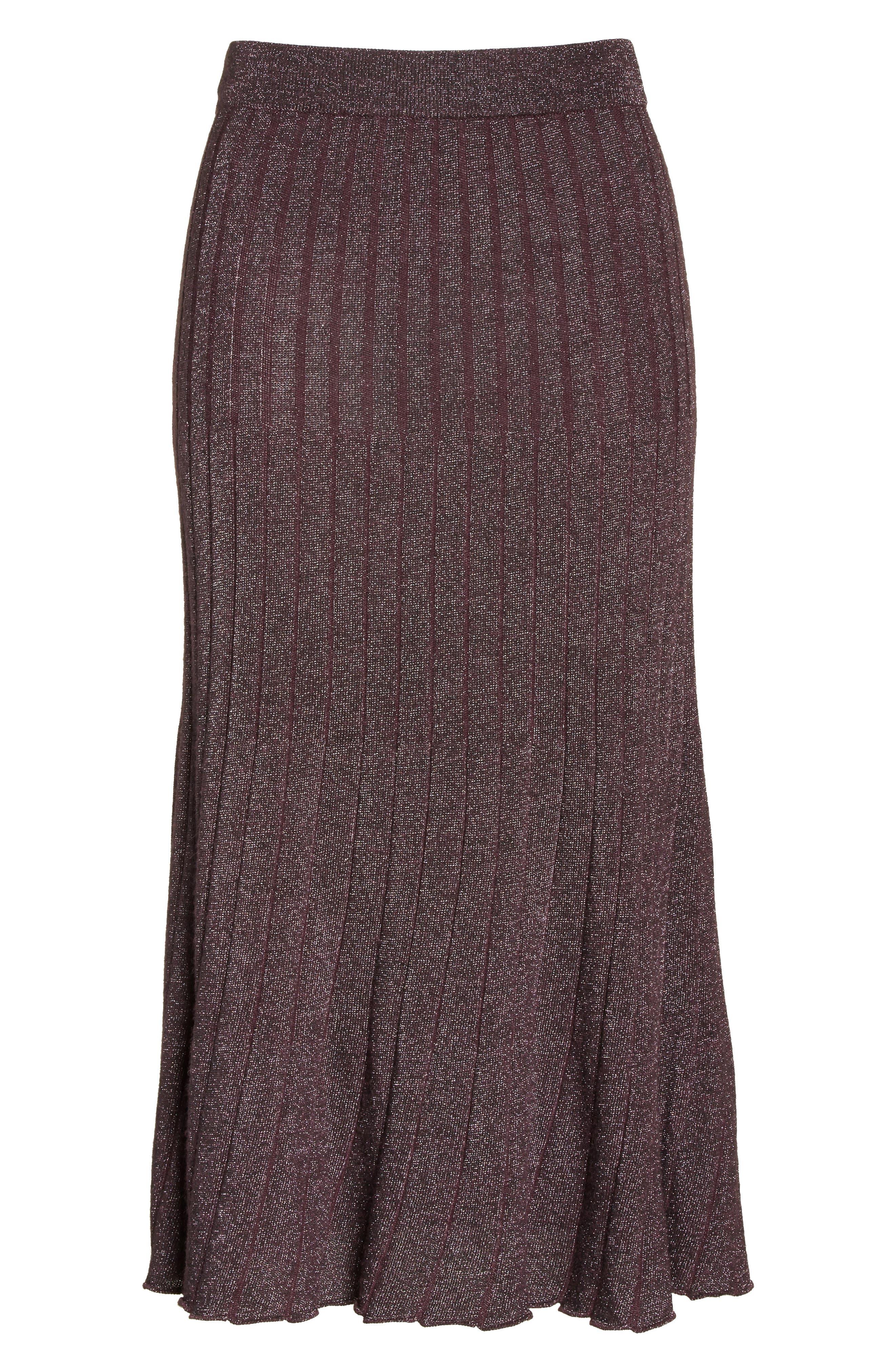 Metallic Ribbed Knit Skirt,                             Alternate thumbnail 7, color,                             Merlot