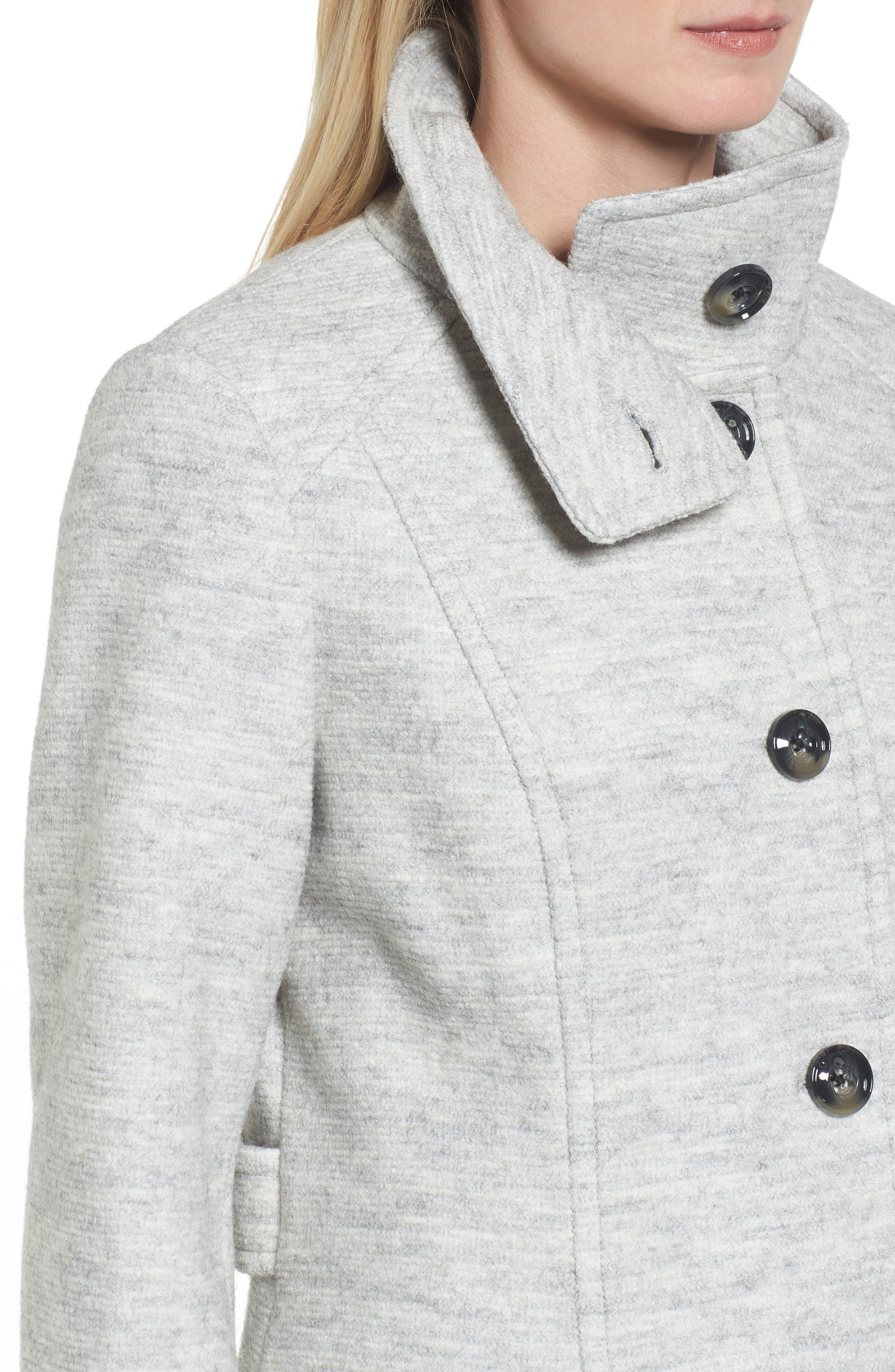 Stand Collar Coat,                             Alternate thumbnail 4, color,                             Pale Grey