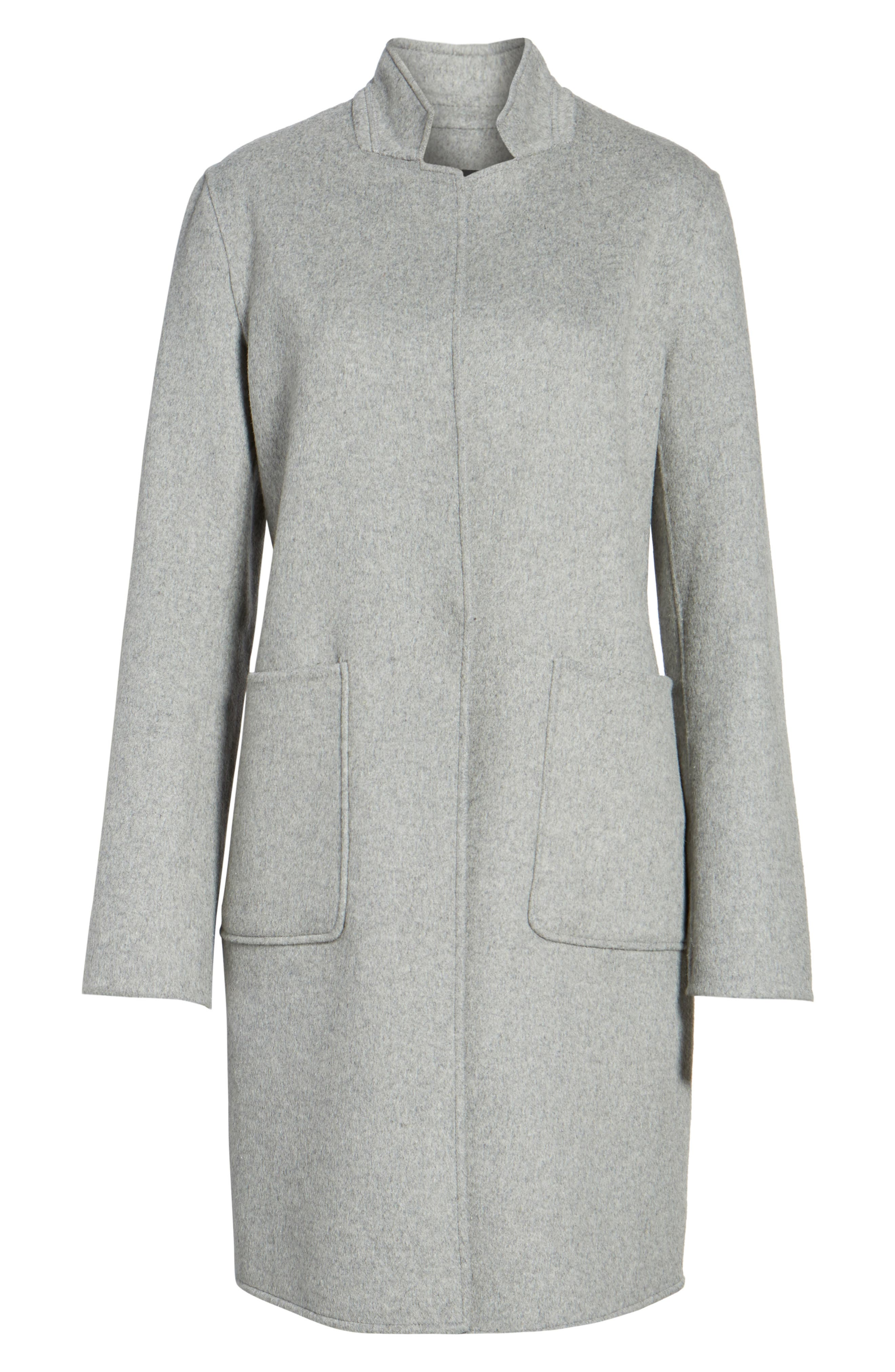 Double Face Wool Blend Coat,                             Alternate thumbnail 6, color,                             Light Grey