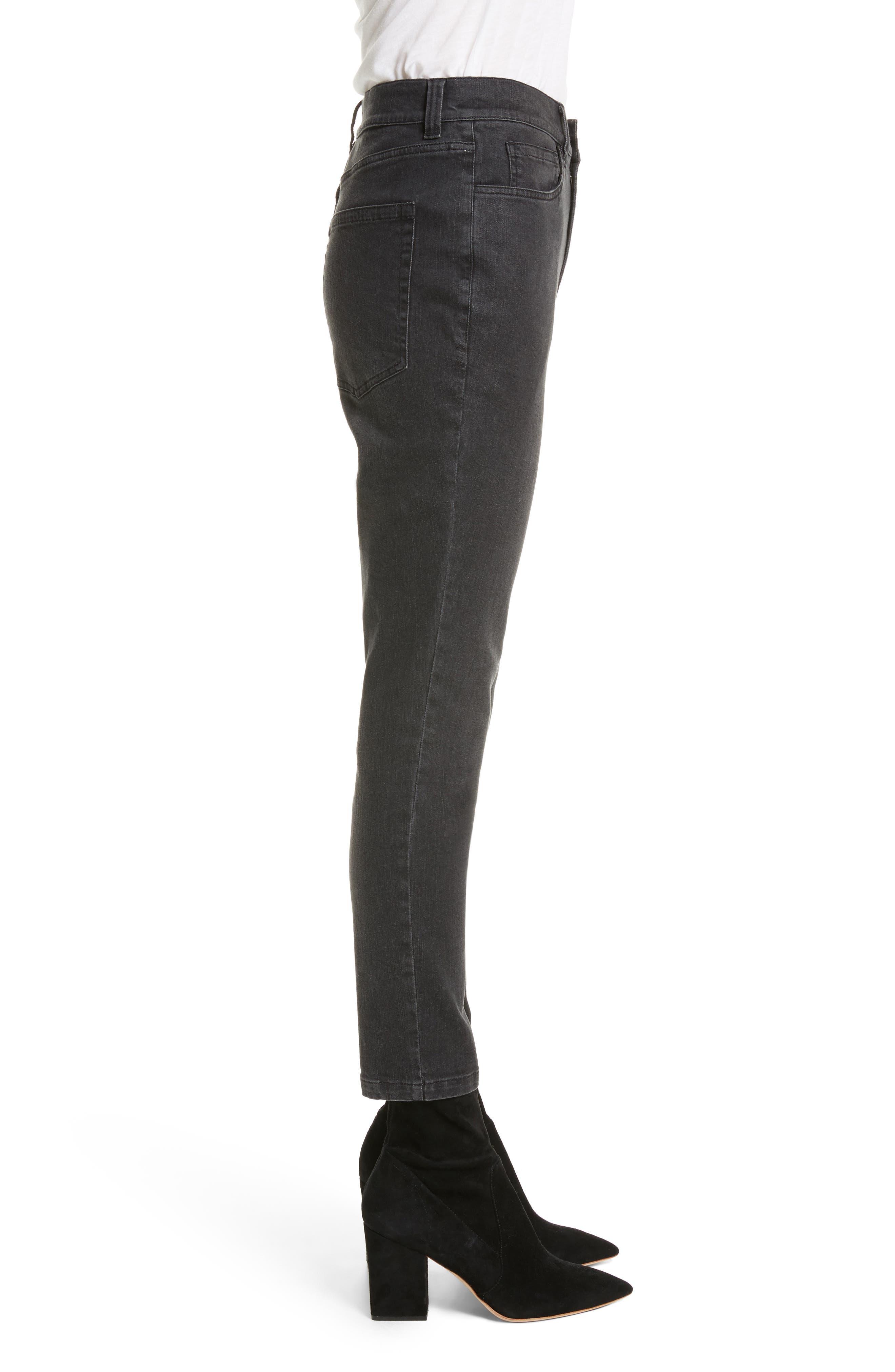 High Waist Slim Jeans,                             Alternate thumbnail 4, color,                             Black Rinse