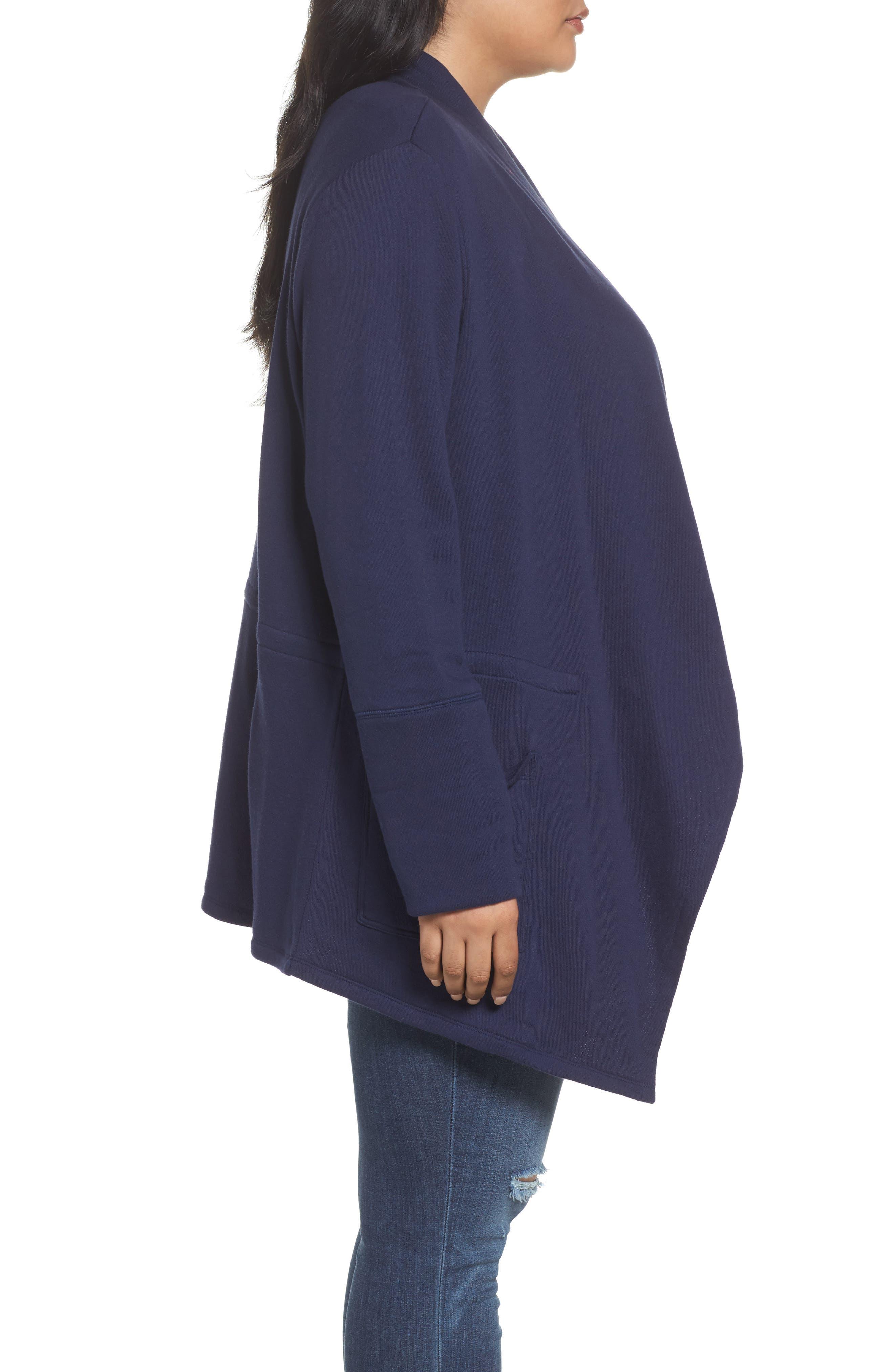Knit Drape Front Jacket,                             Alternate thumbnail 3, color,                             Navy Peacoat