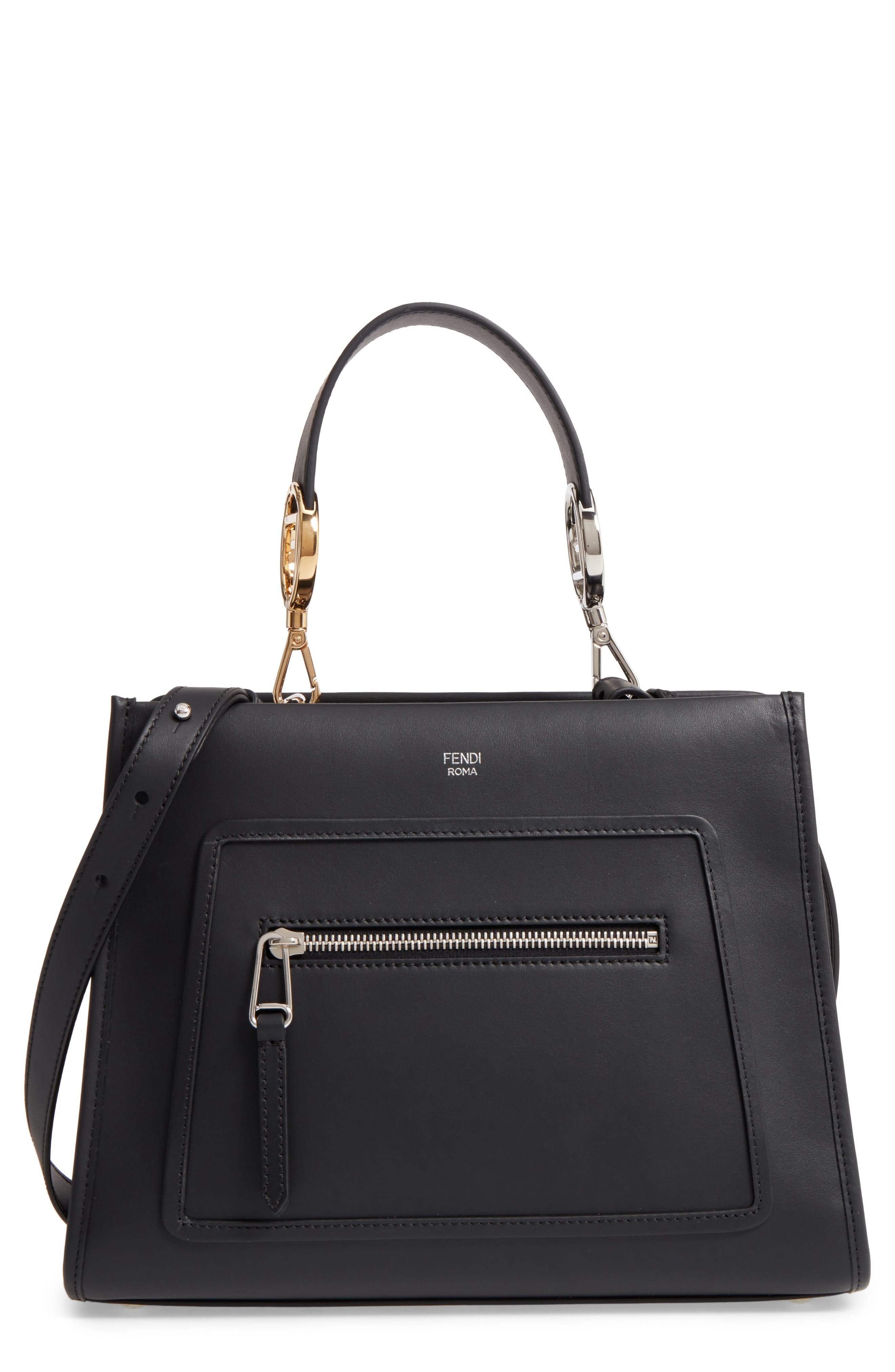 Small Runaway Calfskin Leather Tote,                         Main,                         color, Black