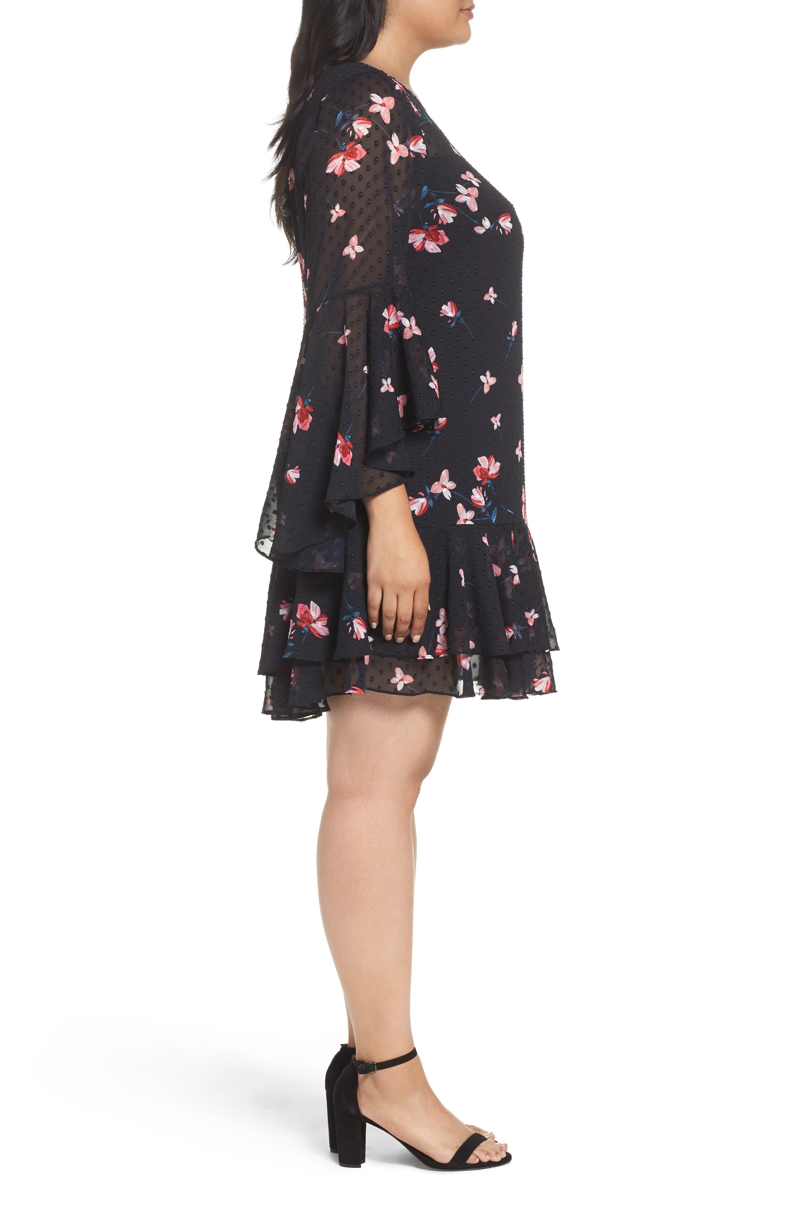 Alternate Image 4  - Eliza J Ruffle Fit & Flare Dress (Plus Size)