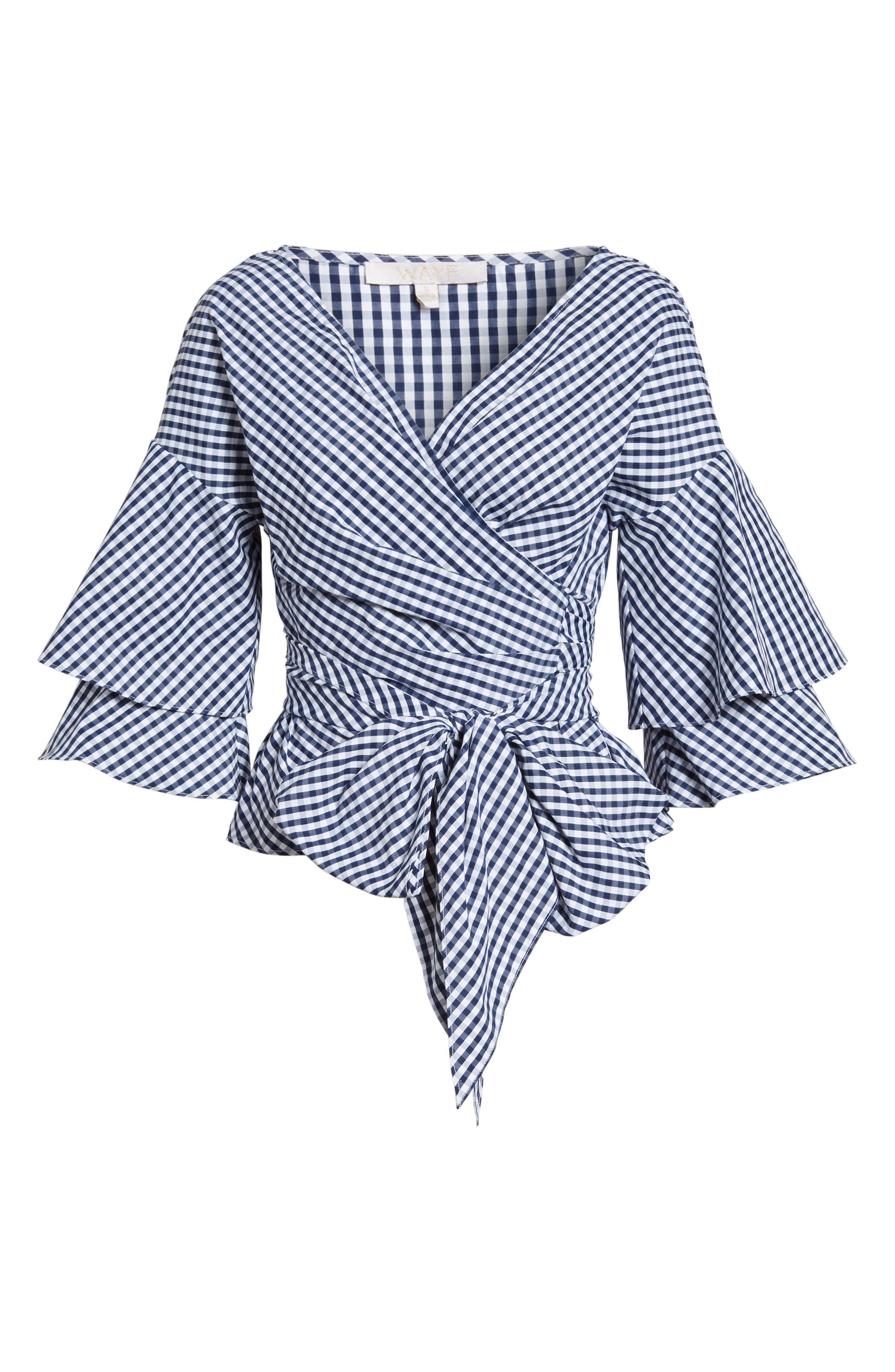 Beckett Tiered Bell Sleeve Top,                             Alternate thumbnail 7, color,                             Navy/ White