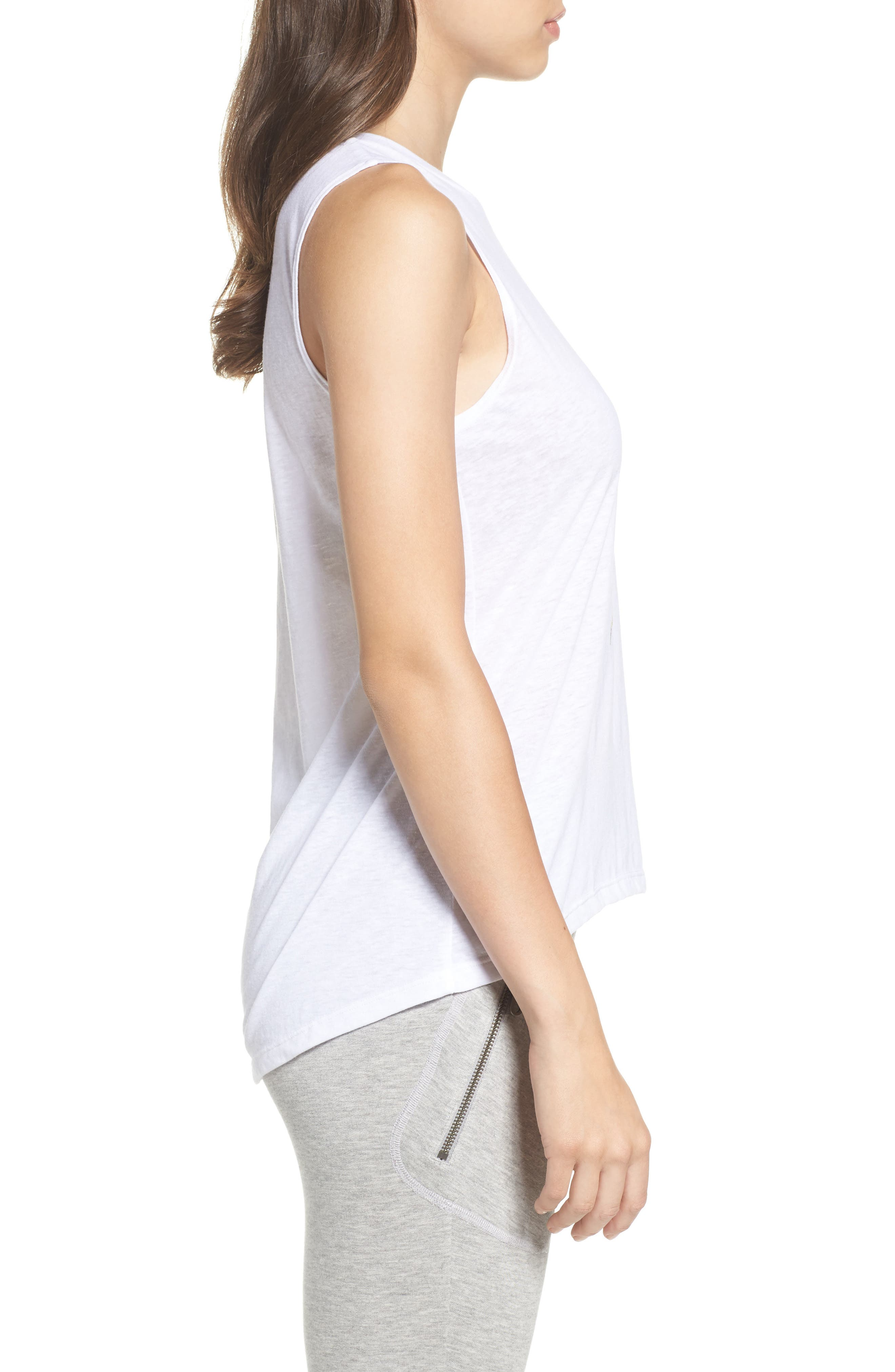 High/Low Muscle Tank,                             Alternate thumbnail 3, color,                             White