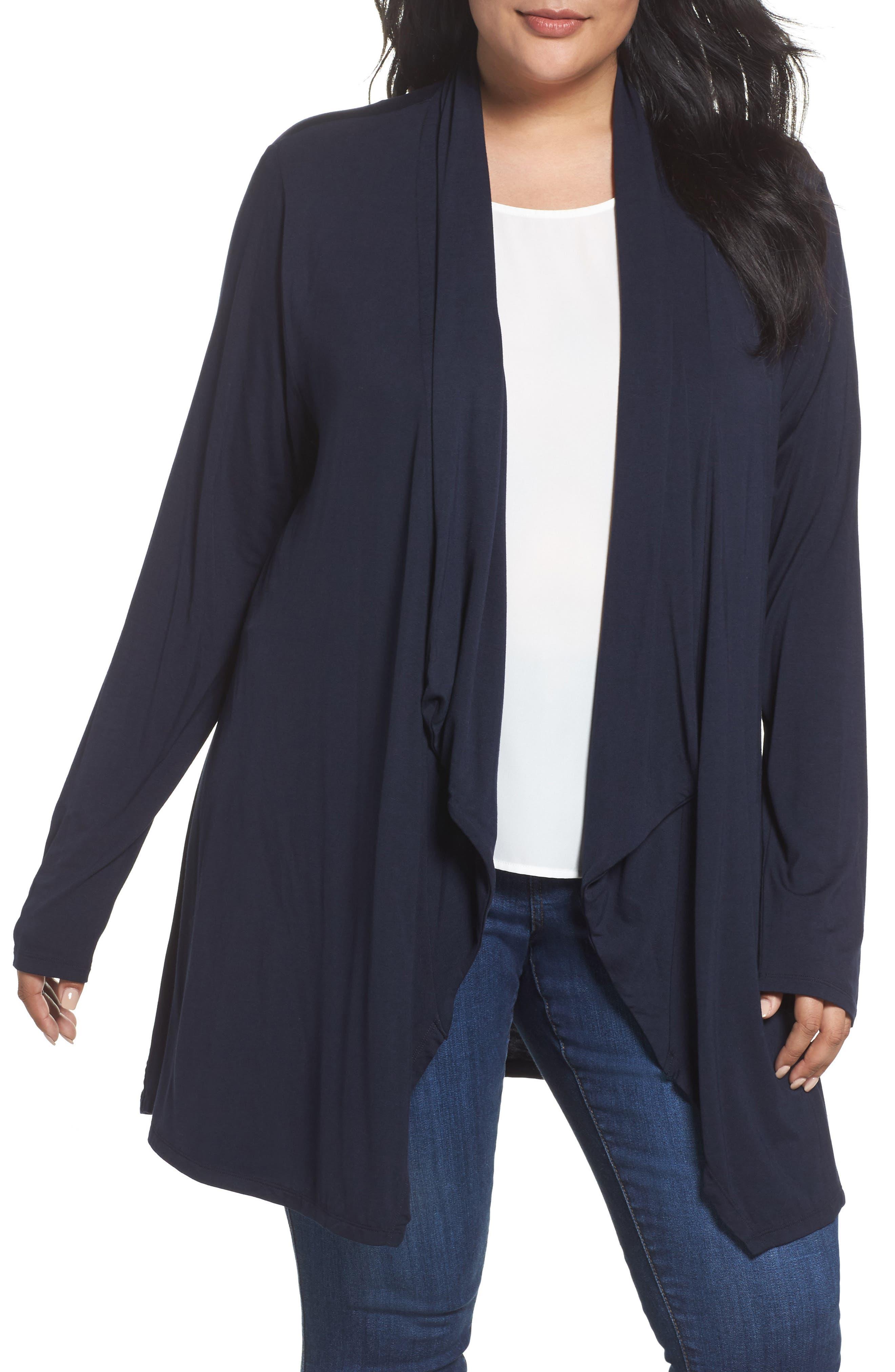 Dantelle Waterfall Drape Front Cardigan (Plus Size)