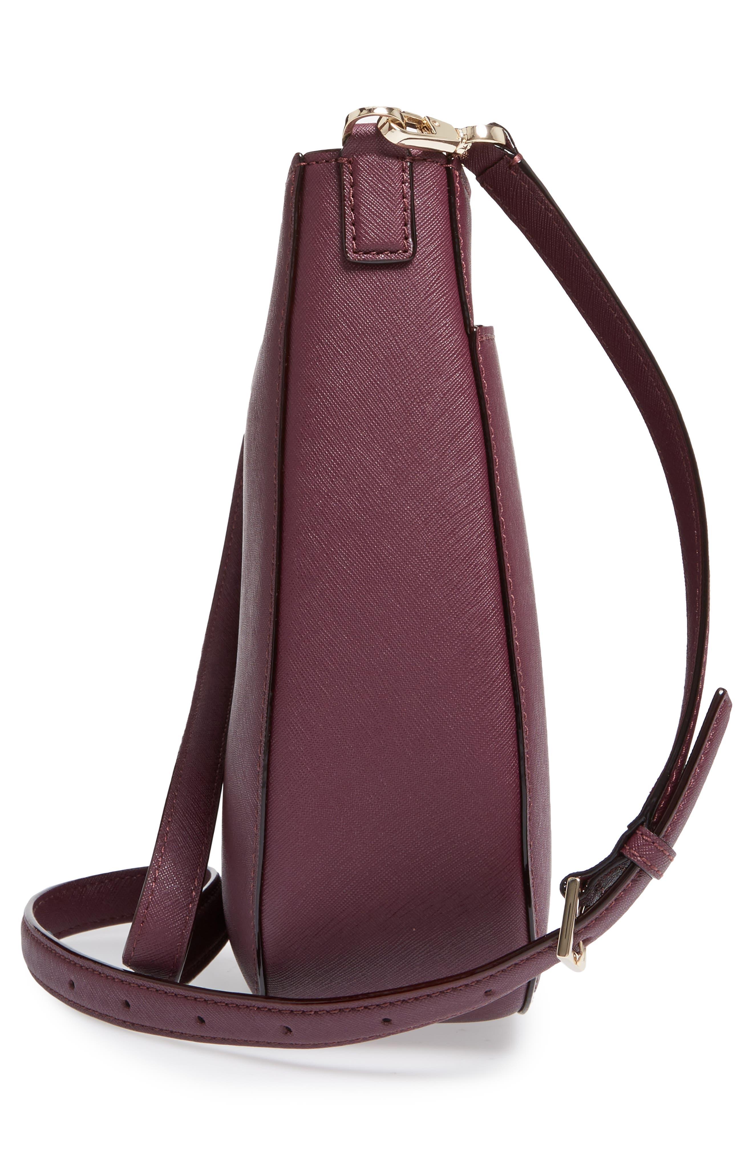 cameron street - robin leather crossbody bag,                             Alternate thumbnail 4, color,                             Deep Plum