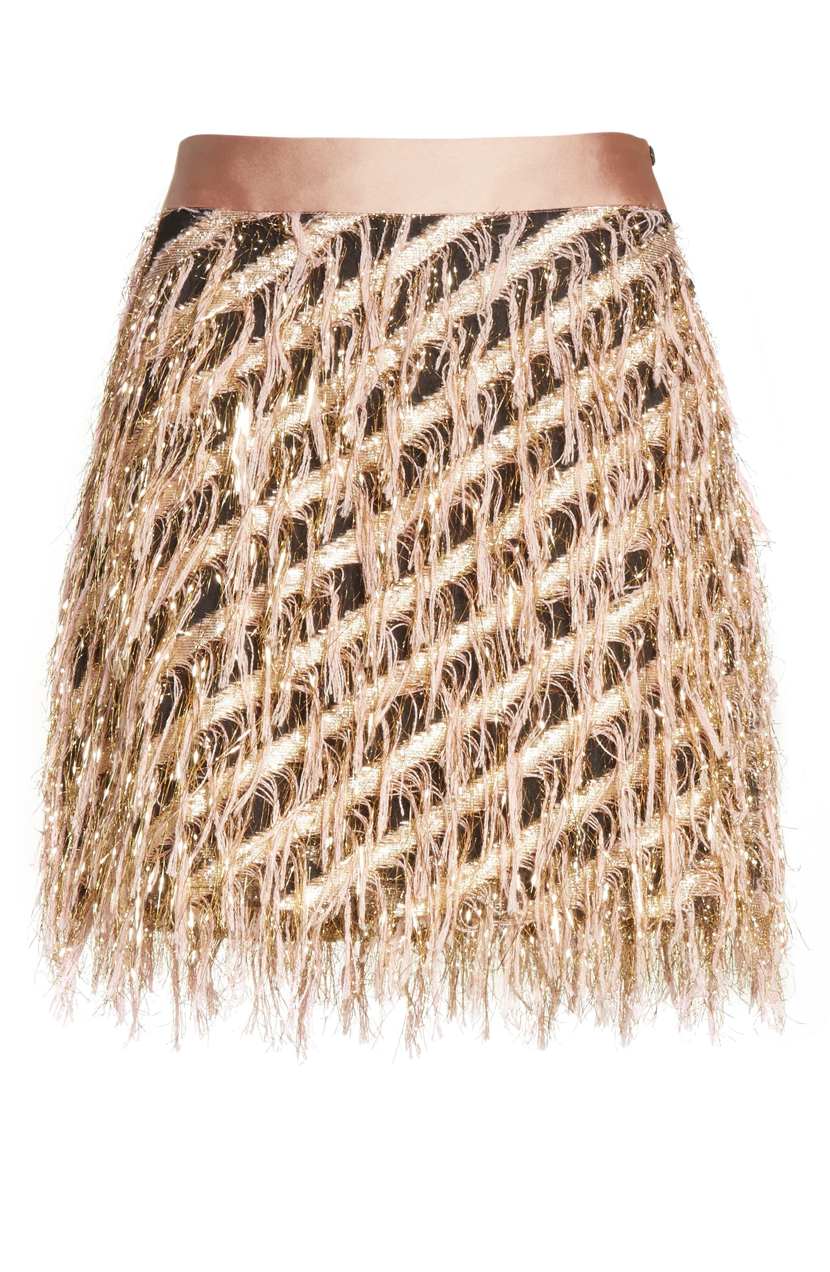 Fil Coupé Diagonal Stripe Miniskirt,                             Alternate thumbnail 6, color,                             Blush