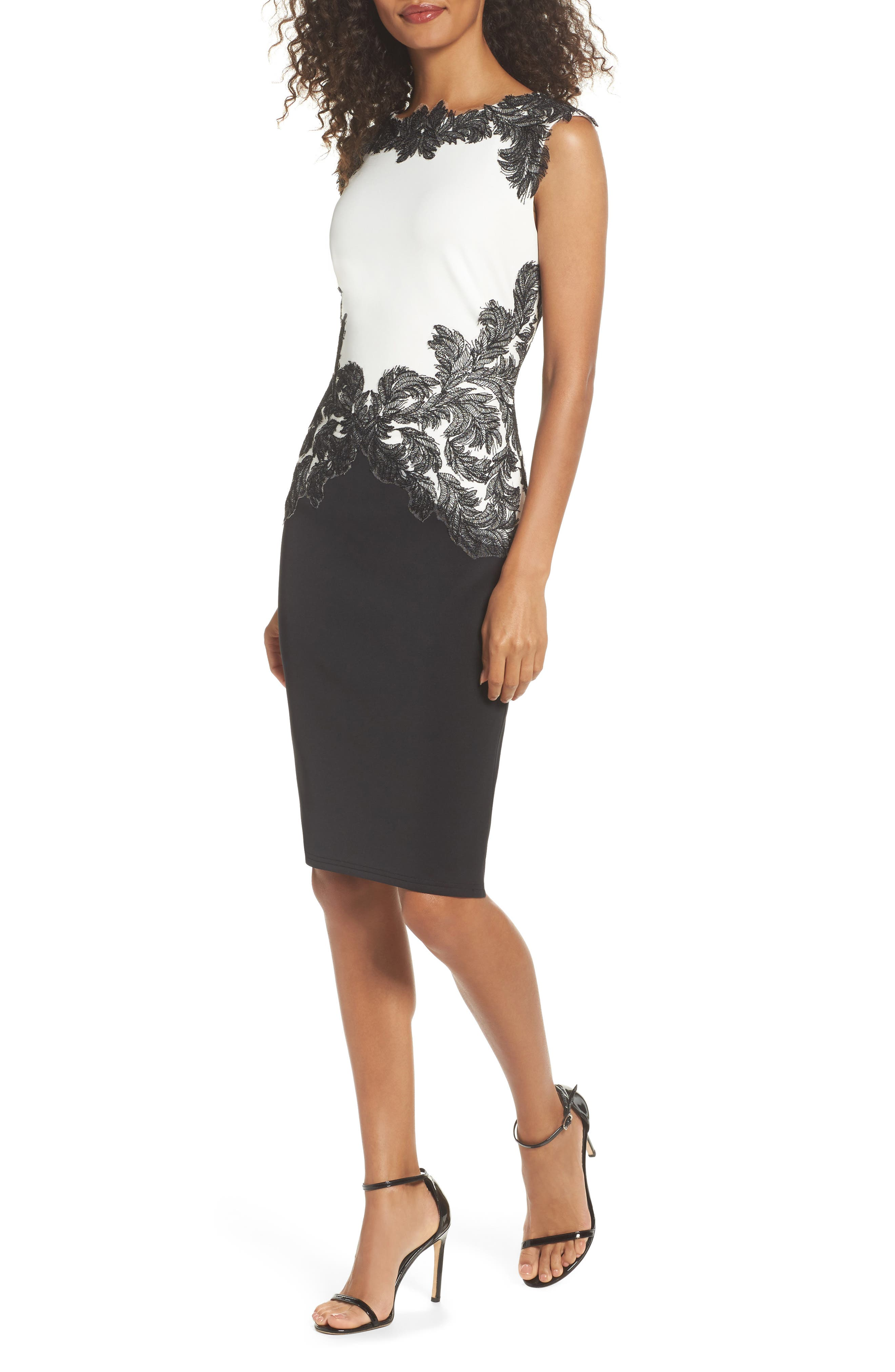 Tadashi Shoji Feather Appliqué Sheath Dress (Regular & Petite)
