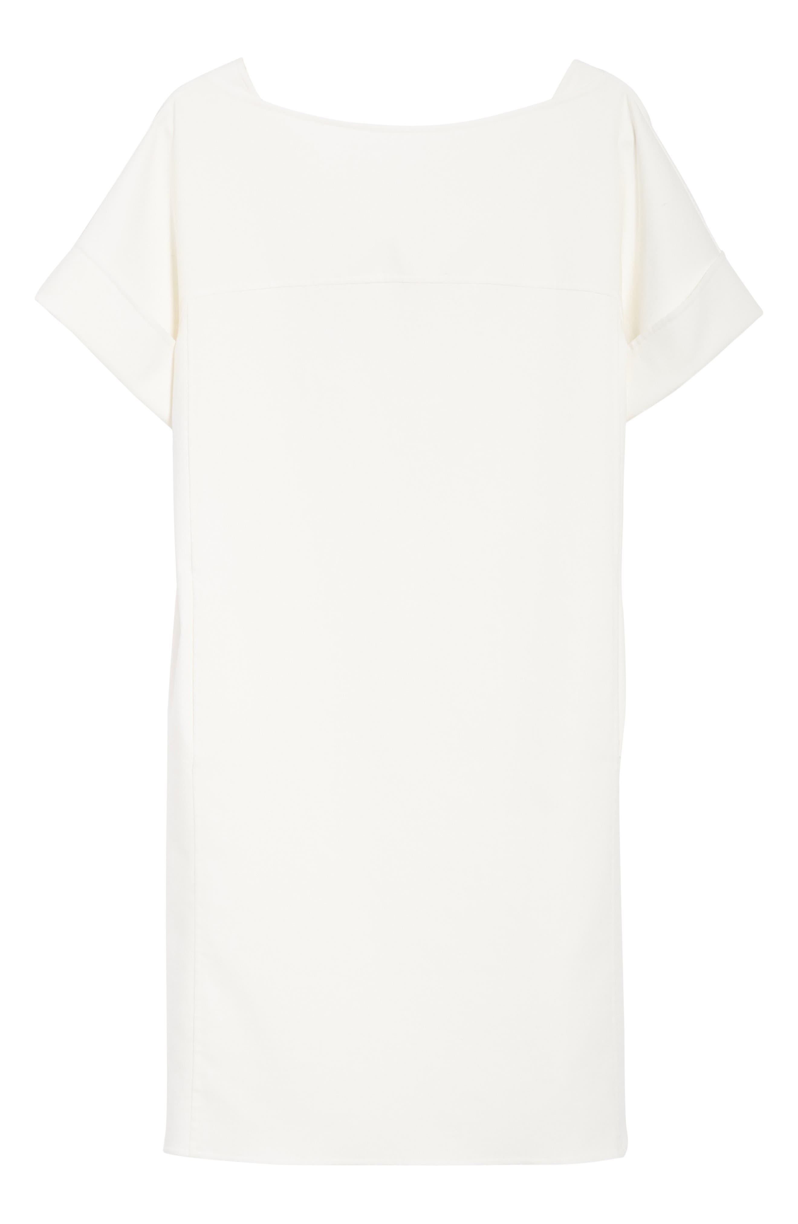 Double Face Stretch Cotton Back Tie Dress,                             Alternate thumbnail 6, color,                             Ivory