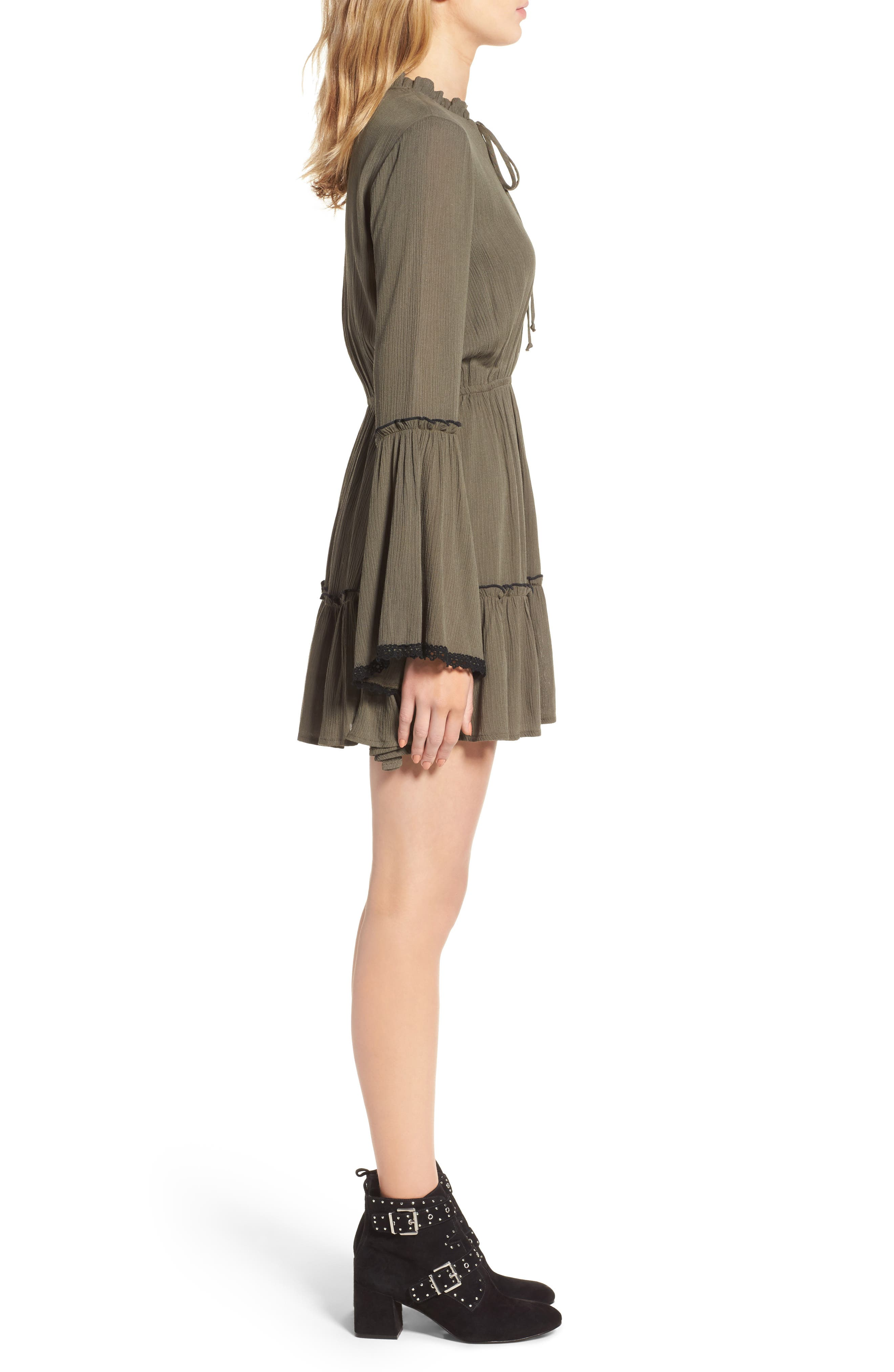 Olivia Bell Sleeve Dress,                             Alternate thumbnail 3, color,                             Olive