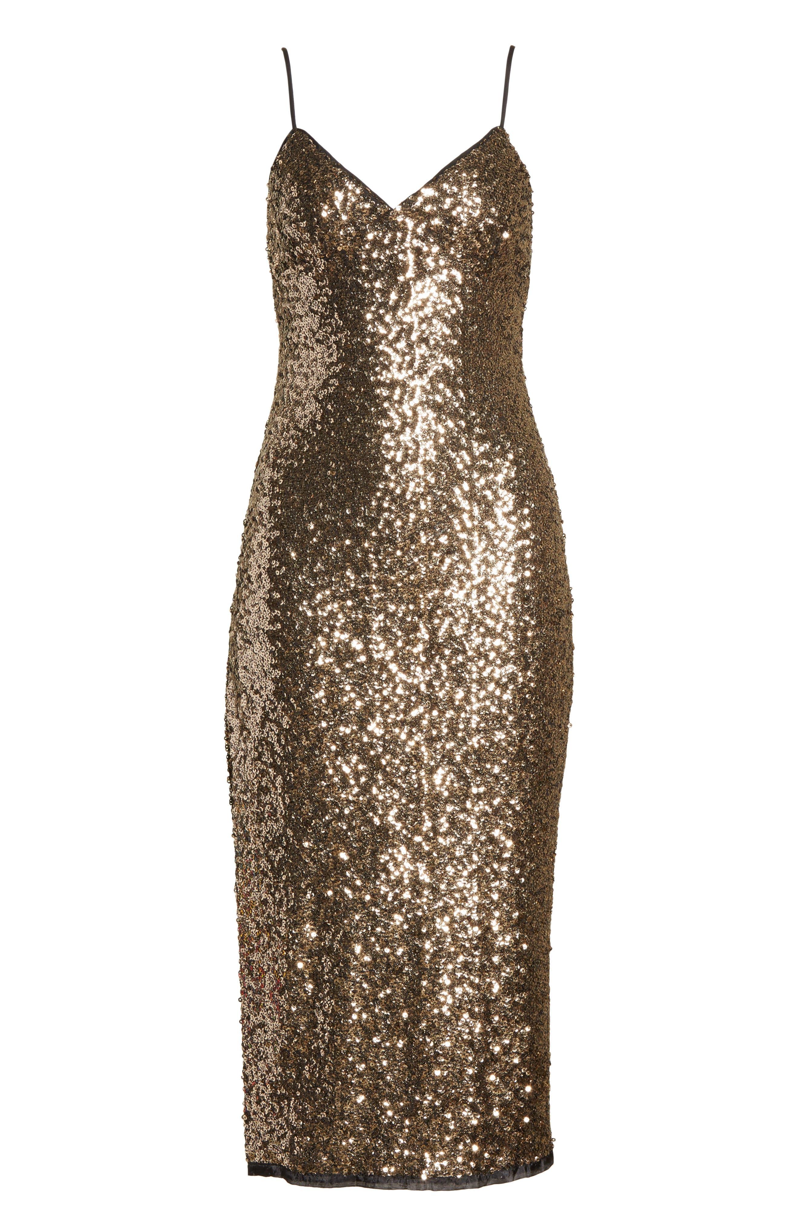 Alexis Sequin Camisole Dress,                             Alternate thumbnail 6, color,                             Antique Gold
