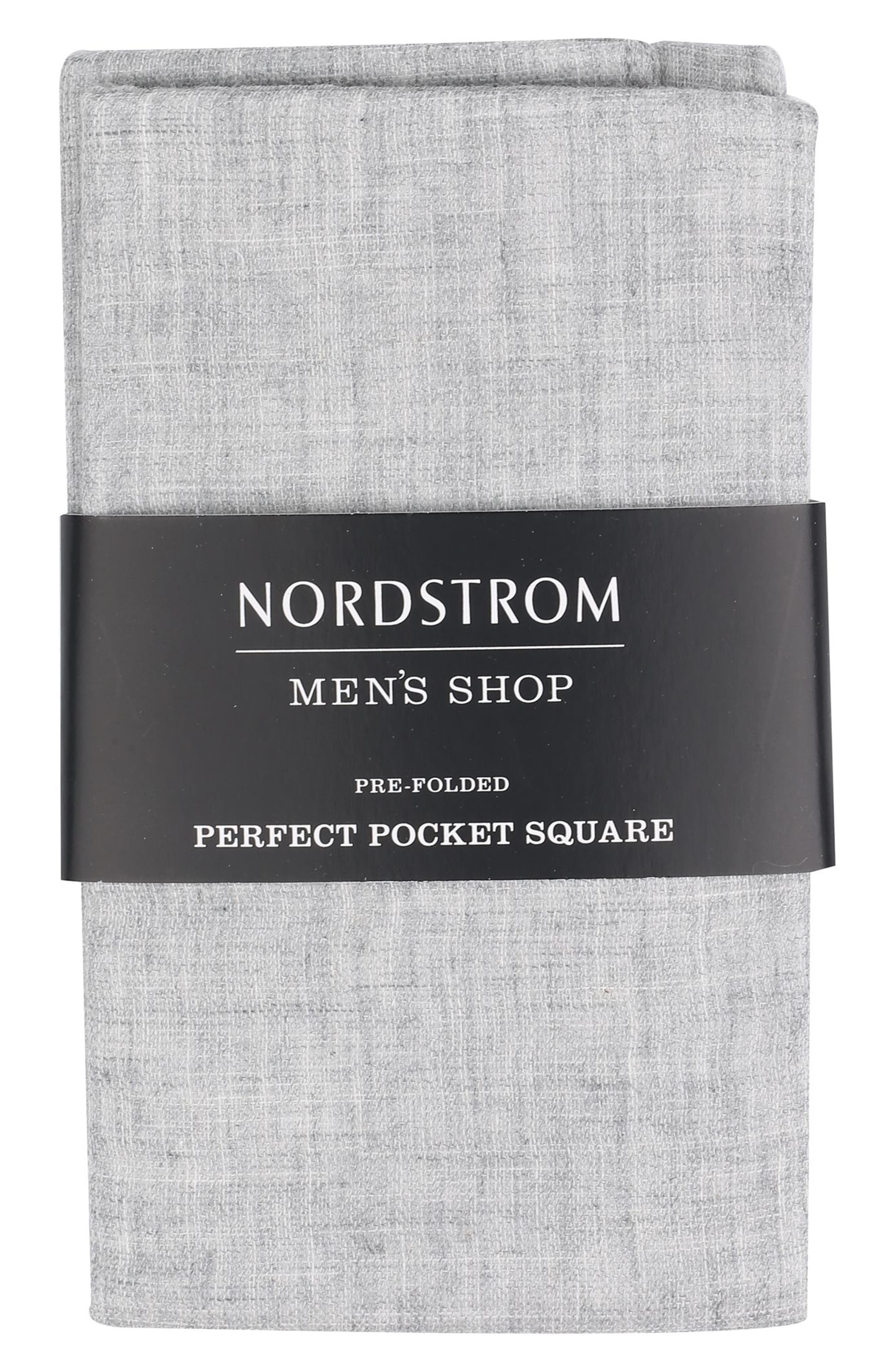 The Perfect Pre-Folded Pocket Square,                         Main,                         color, Grey Melange