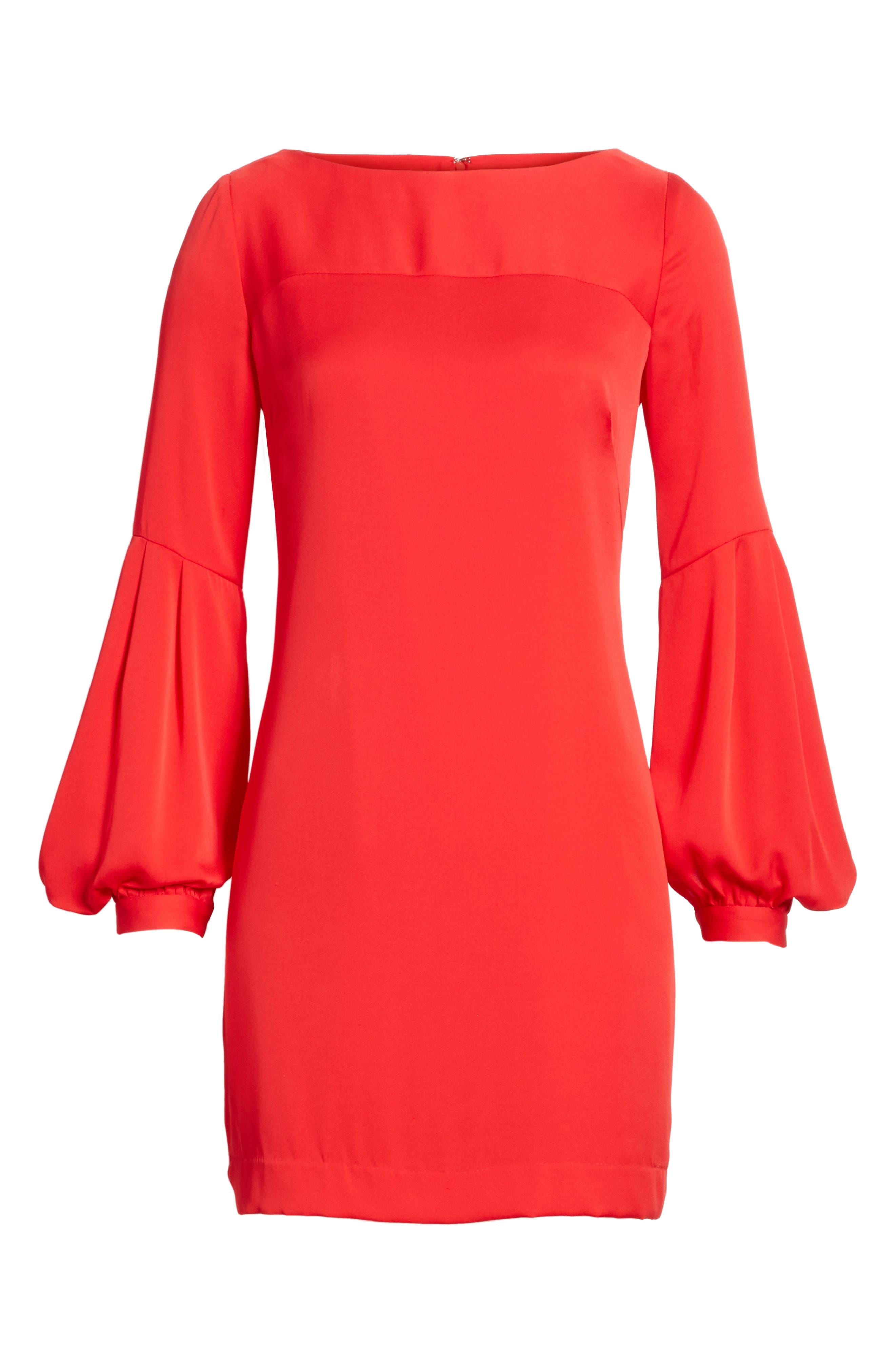 Shana Stretch Silk Bishop Sleeve Dress,                             Alternate thumbnail 6, color,                             Lipstick