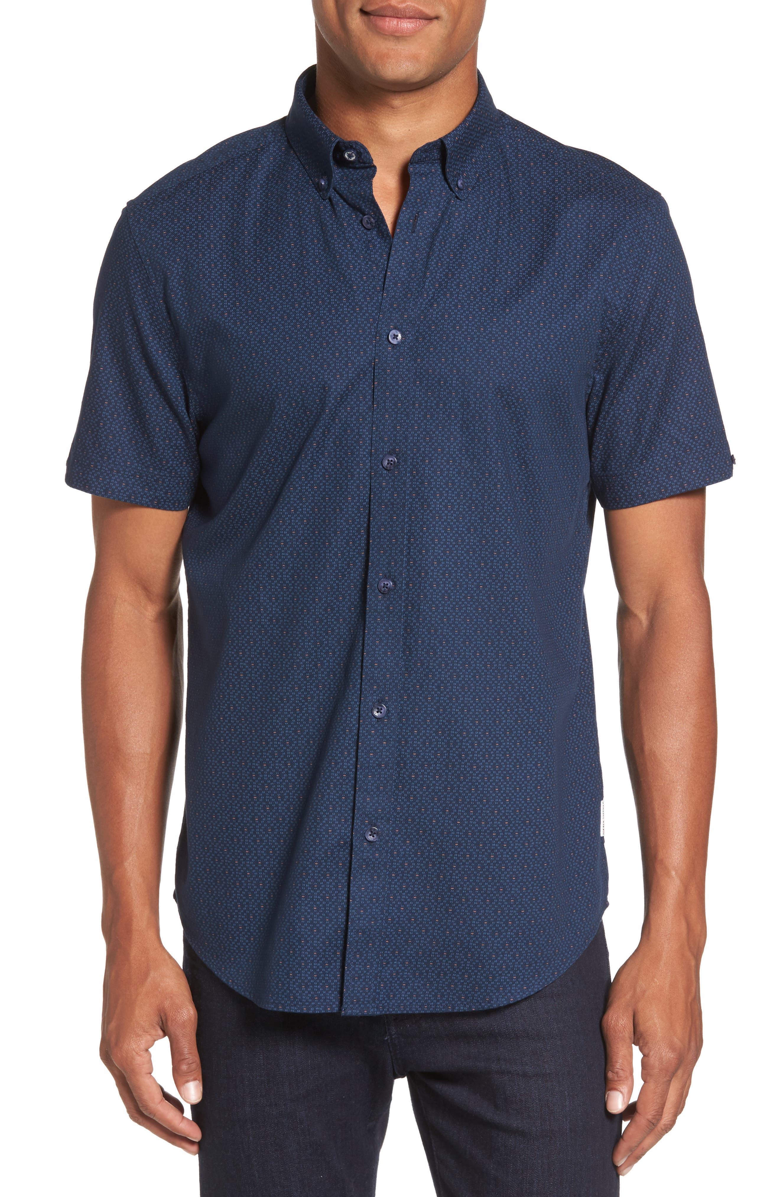 Ben Sherman Textured Dash Print Short Sleeve Shirt