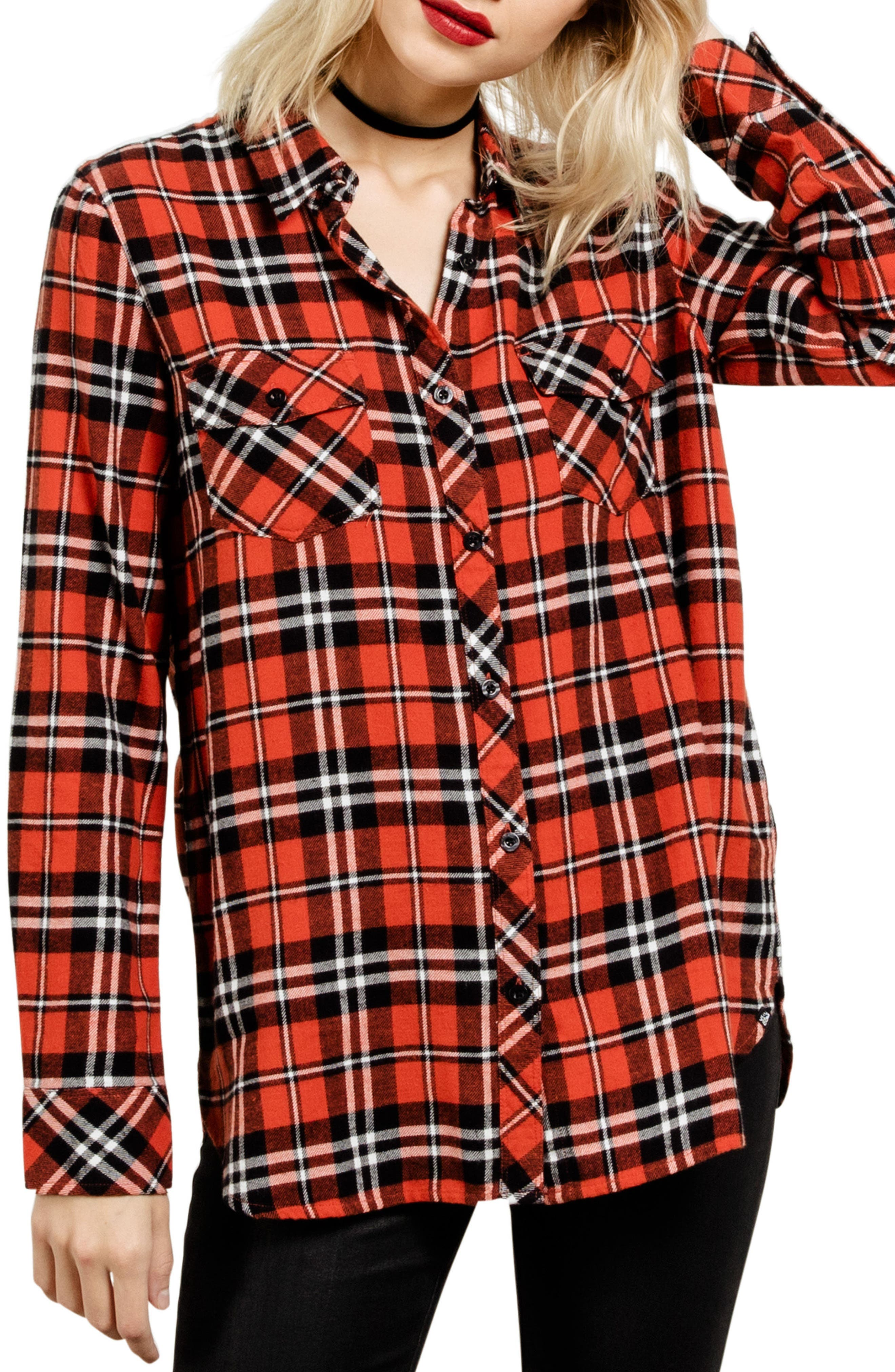 Fly High Flannel Top,                         Main,                         color, Red