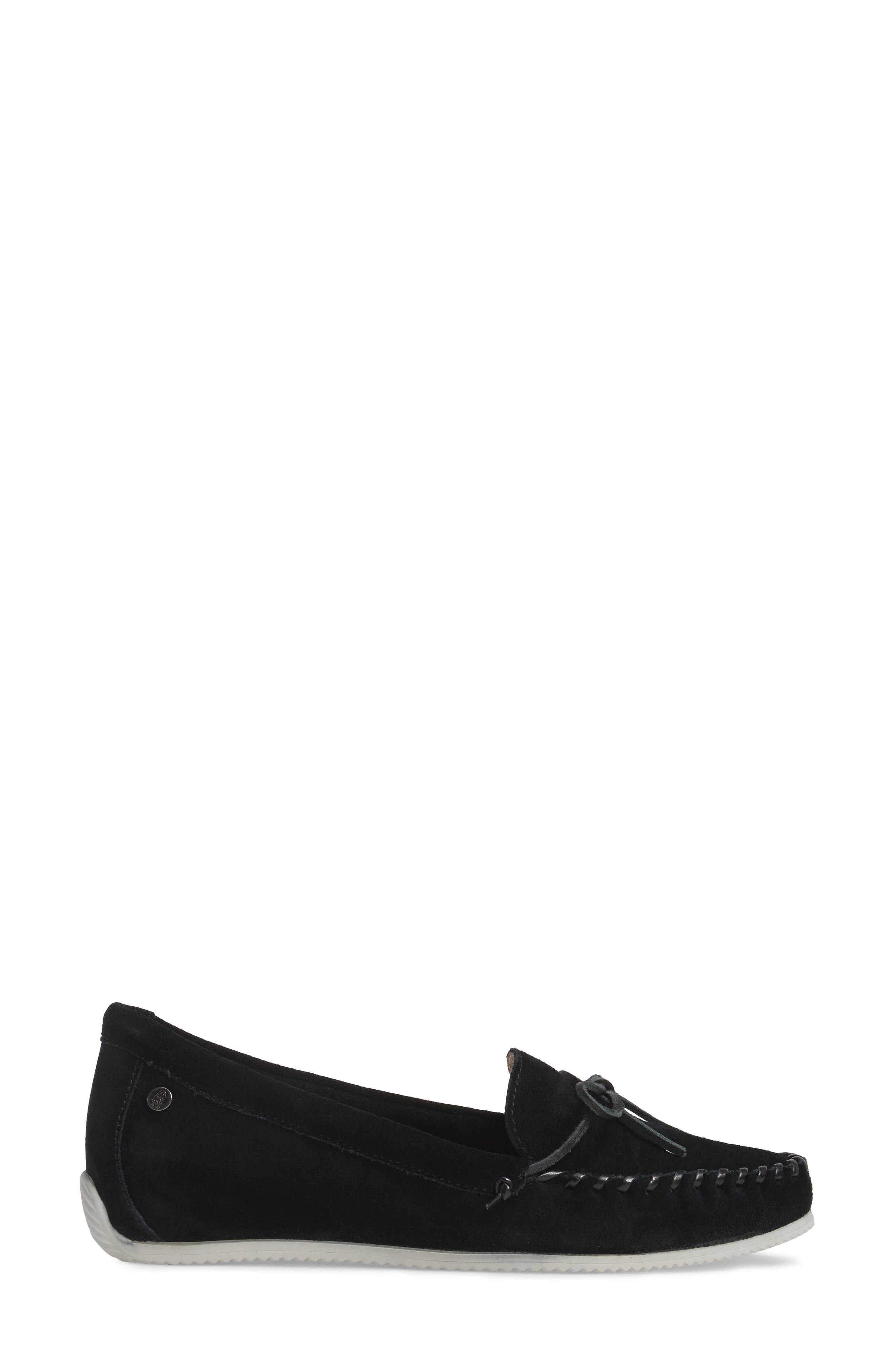 Larghetto Carine Concealed Wedge Moccasin,                             Alternate thumbnail 3, color,                             Black Suede