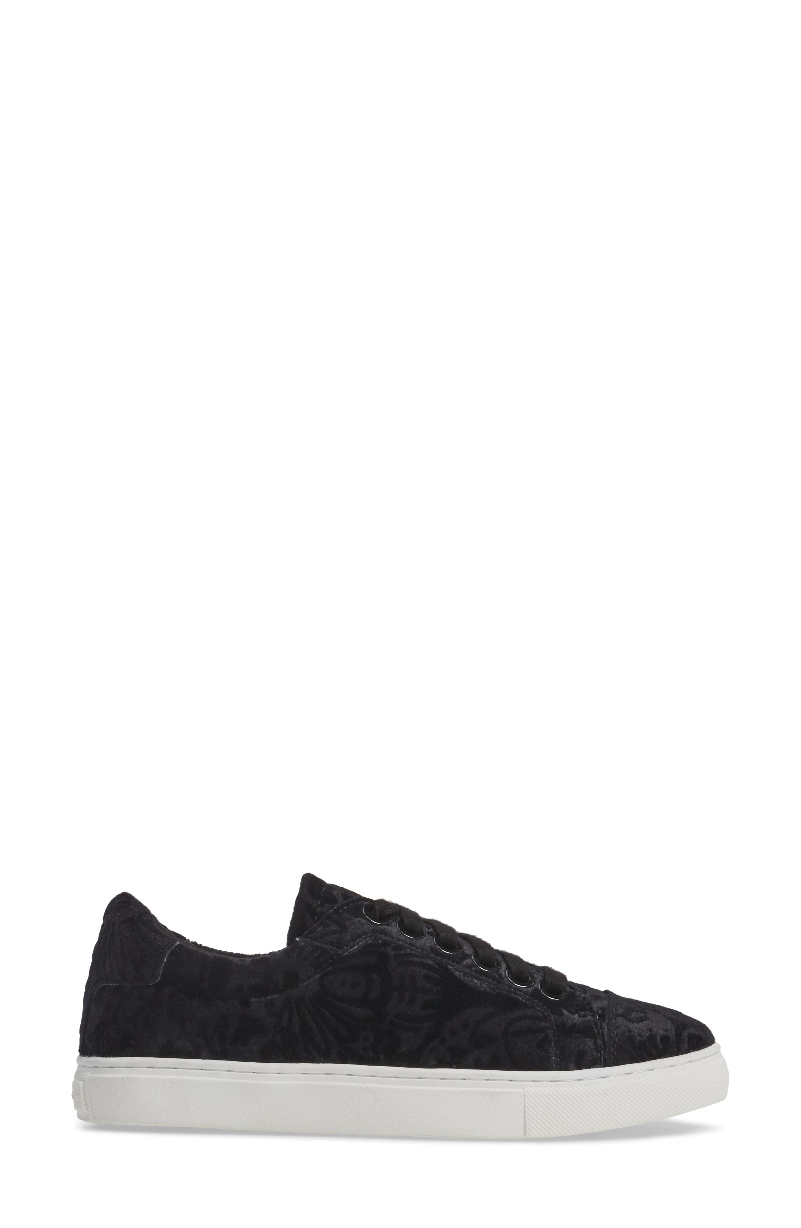 Bleecker Too Sneaker,                             Alternate thumbnail 3, color,                             Black Floral Velvet