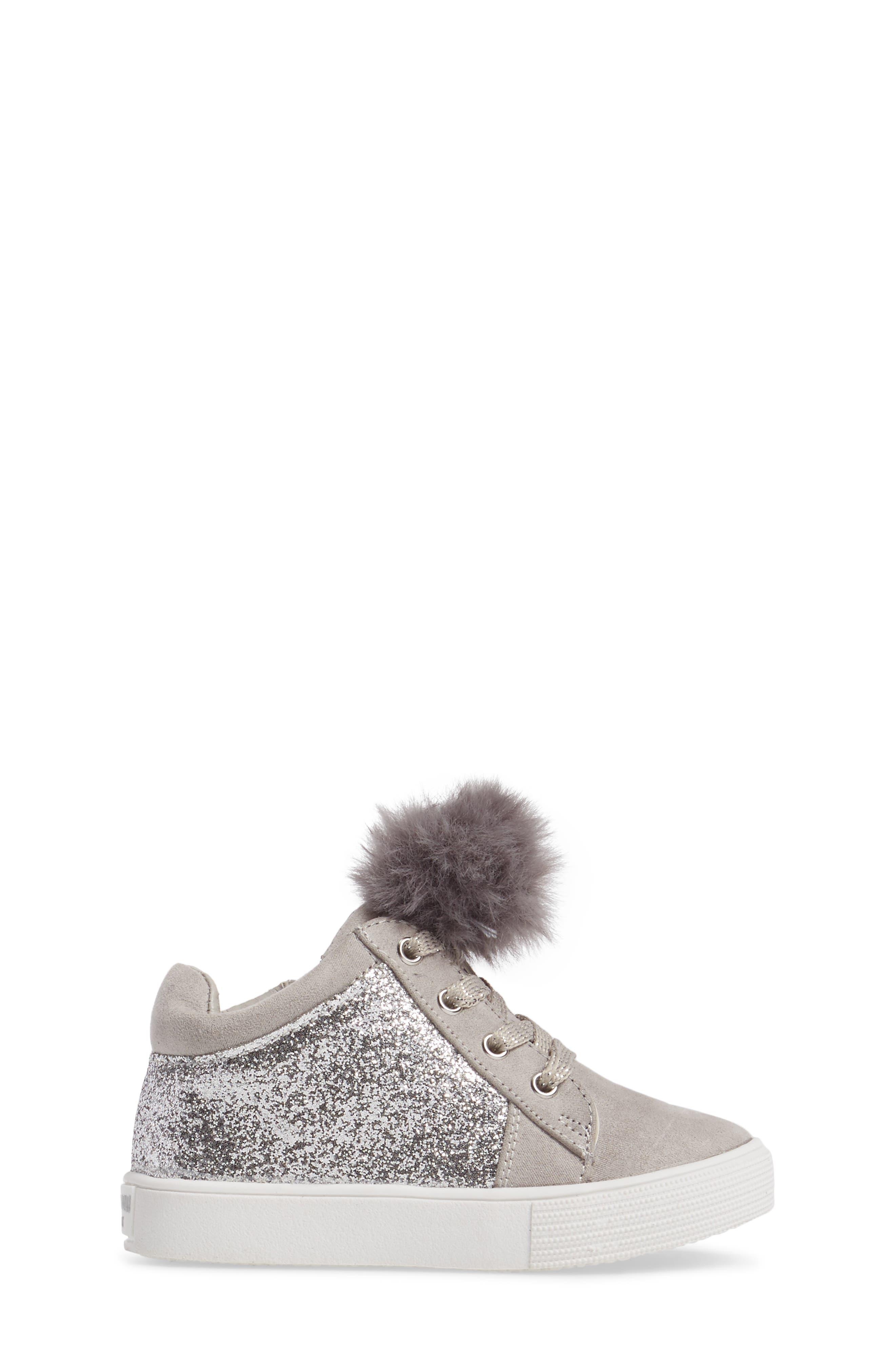 Kam Kid Faux Fur Glitter Sneaker,                             Alternate thumbnail 3, color,                             Light Grey