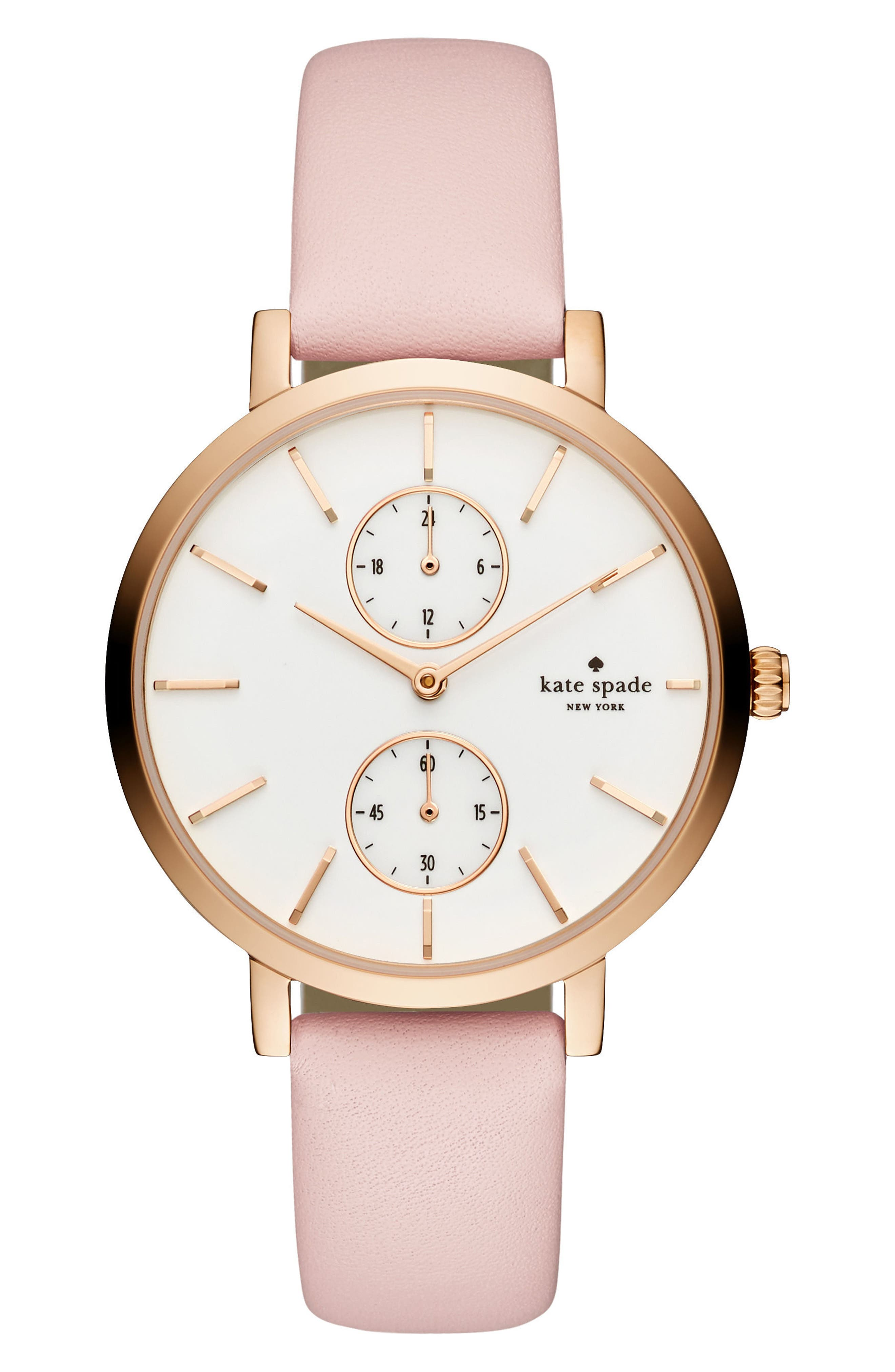 kate spade new york monterey multifunction leather strap watch, 38mm