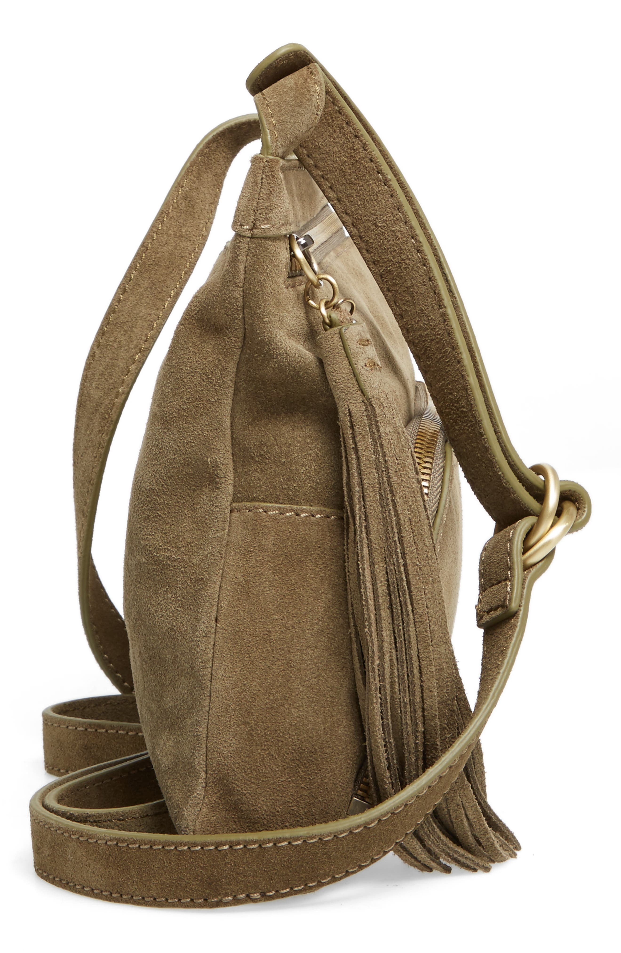 Cassie Calfskin Suede Crossbody Bag,                             Alternate thumbnail 5, color,                             Sage