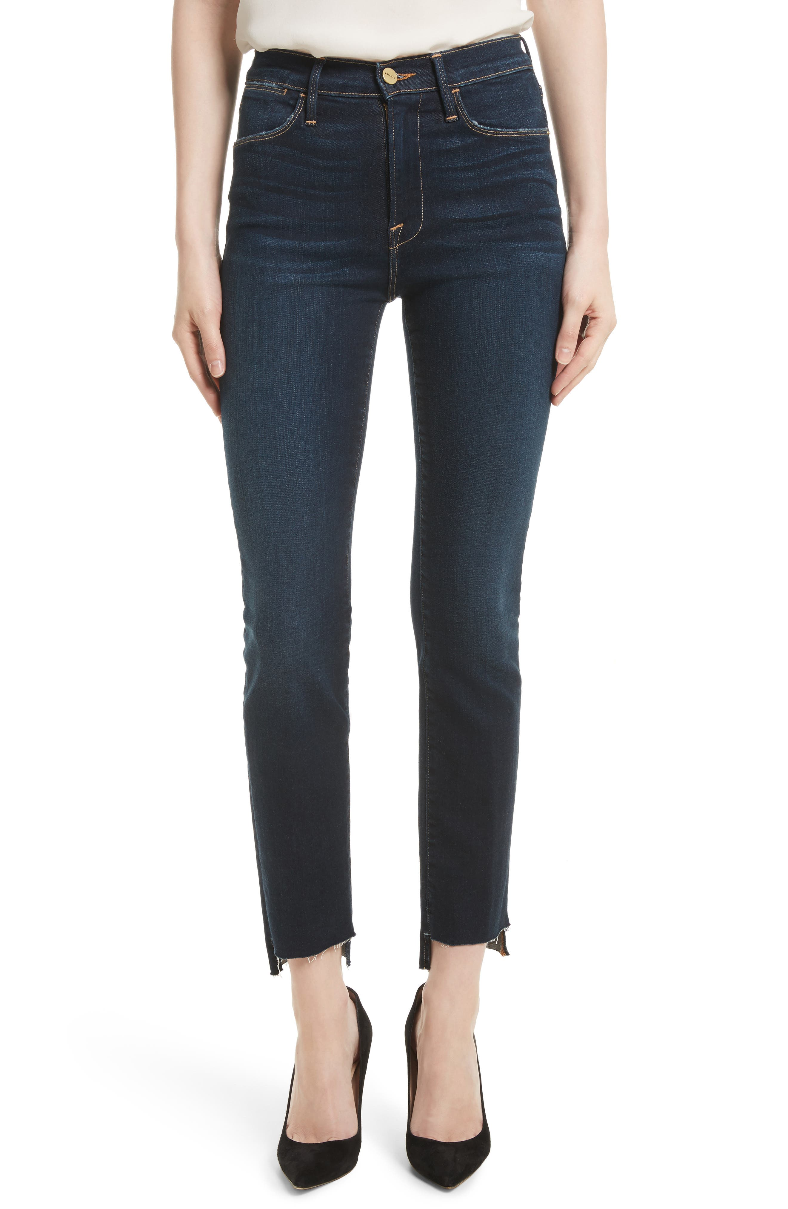 Le High Straight Raw Stagger Jeans,                             Main thumbnail 1, color,                             Cabana
