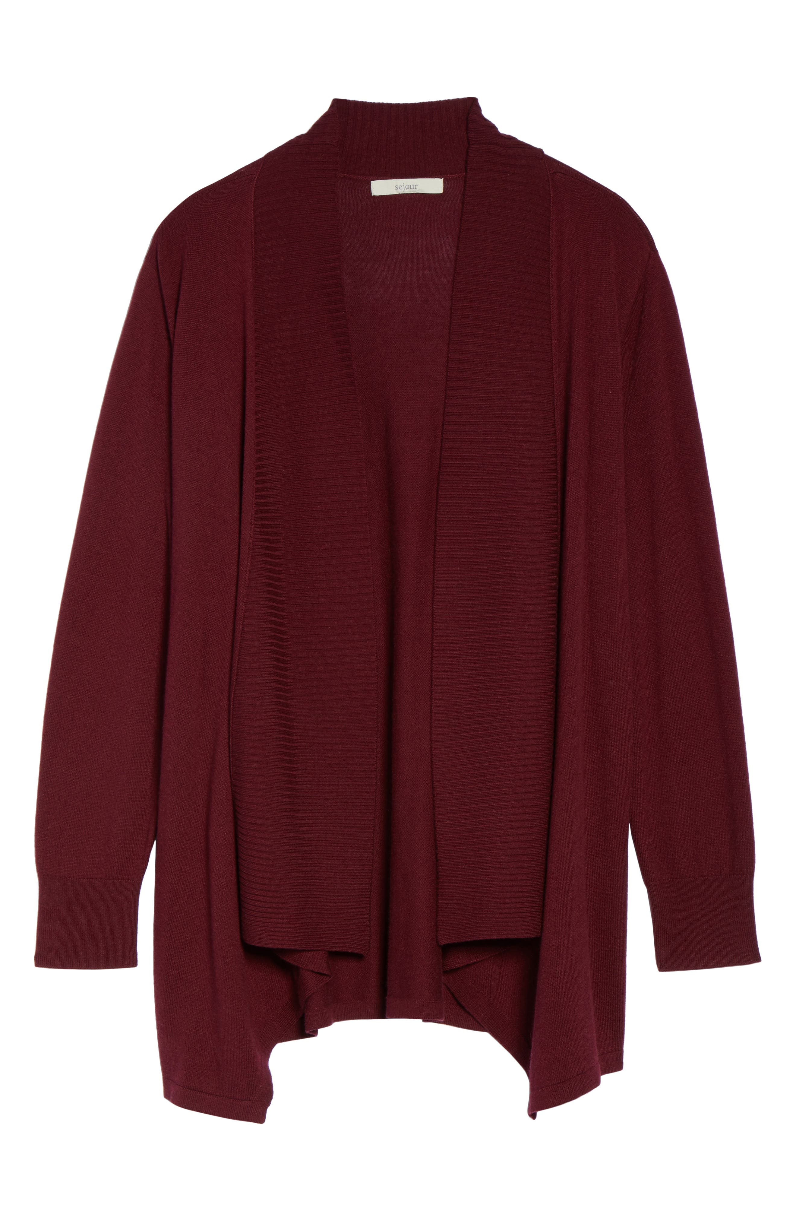 Cascade Open Front Cardigan,                             Alternate thumbnail 6, color,                             Red Tannin