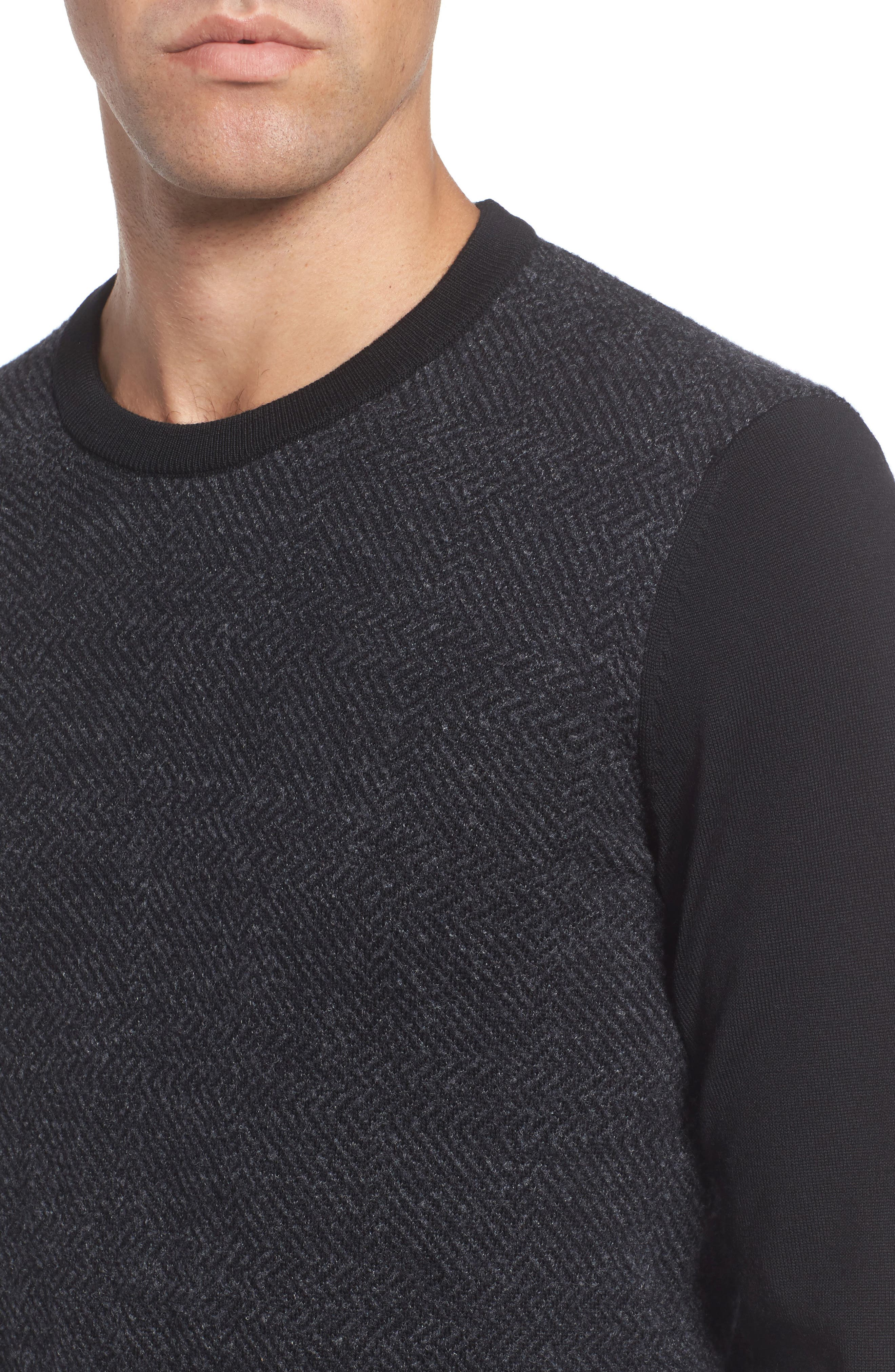 Notto Wool Blend Sweater,                             Alternate thumbnail 4, color,                             Black
