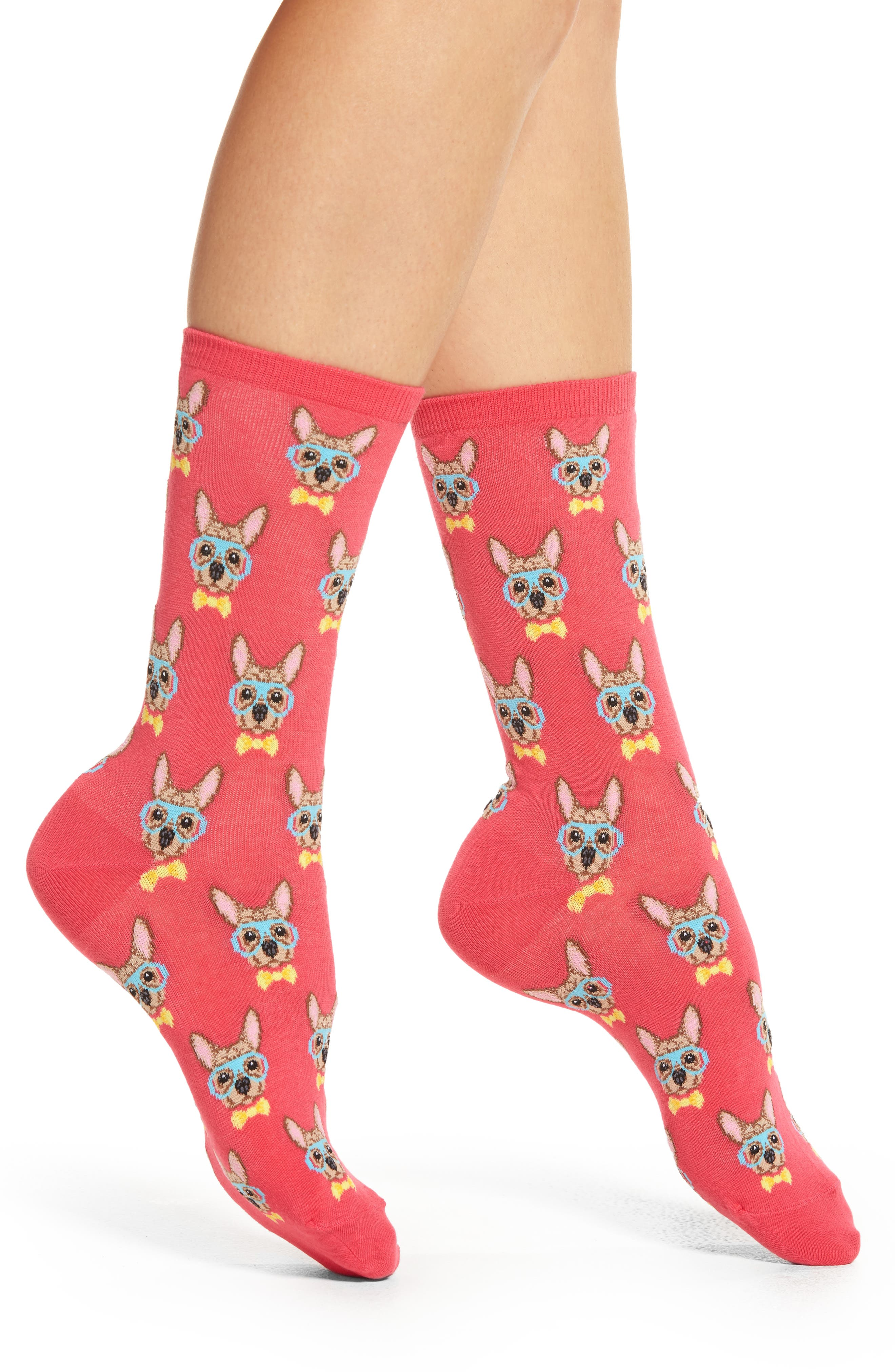 Alternate Image 1 Selected - Hot Sox Smart Frenchie Crew Socks (3 for $15)