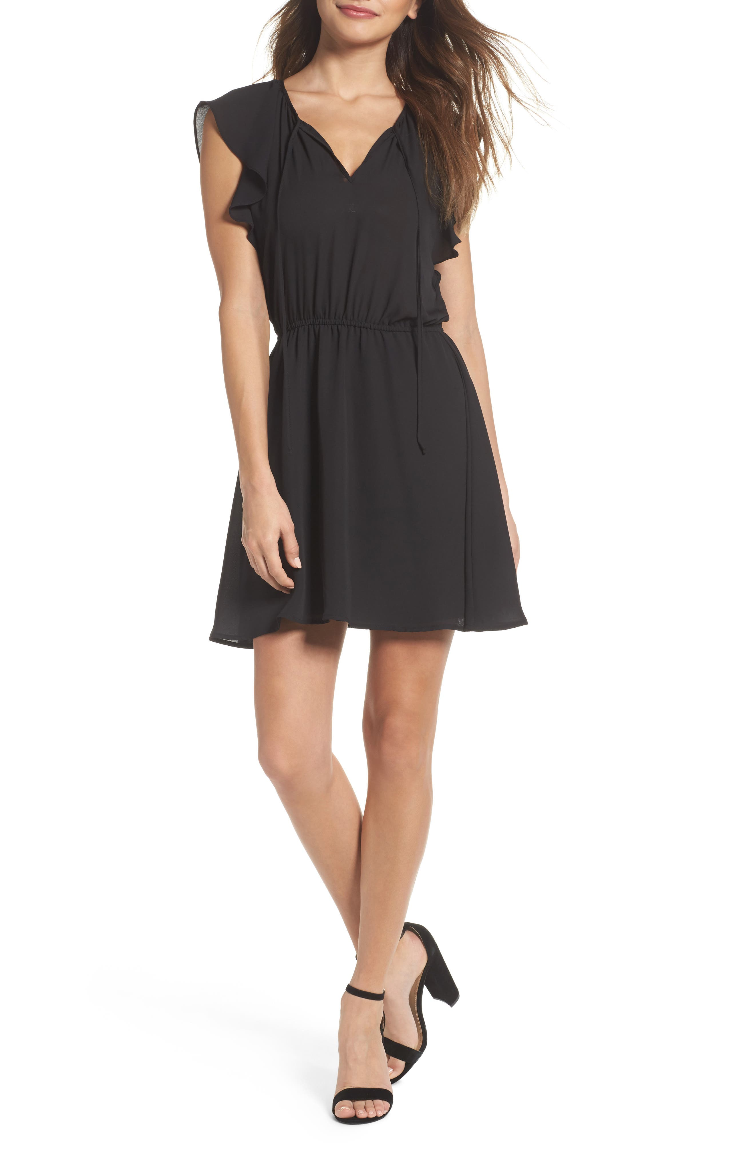 Adrienn Blouson Dress,                         Main,                         color, Black