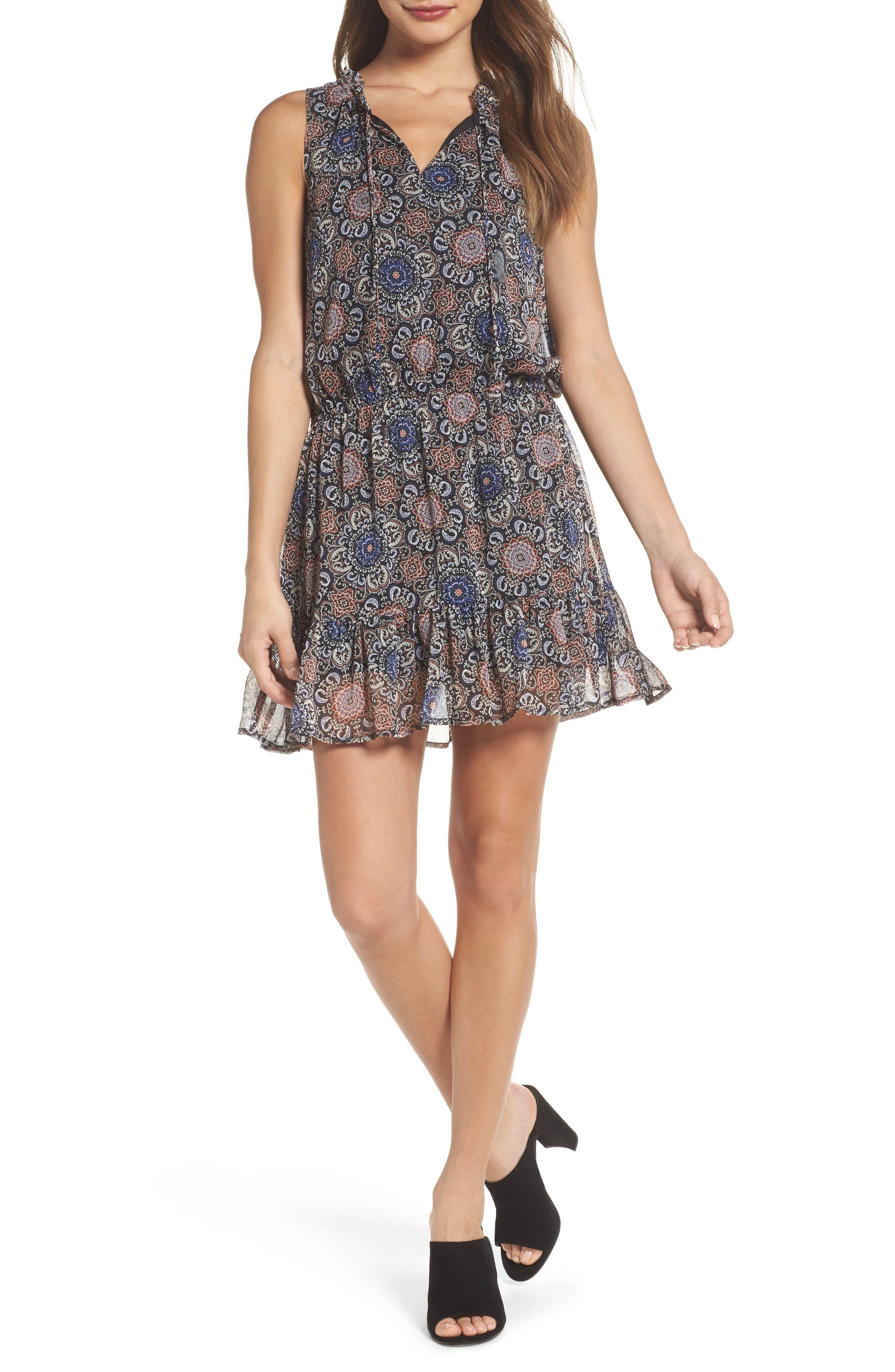 January Blouson Minidress,                         Main,                         color, Blue
