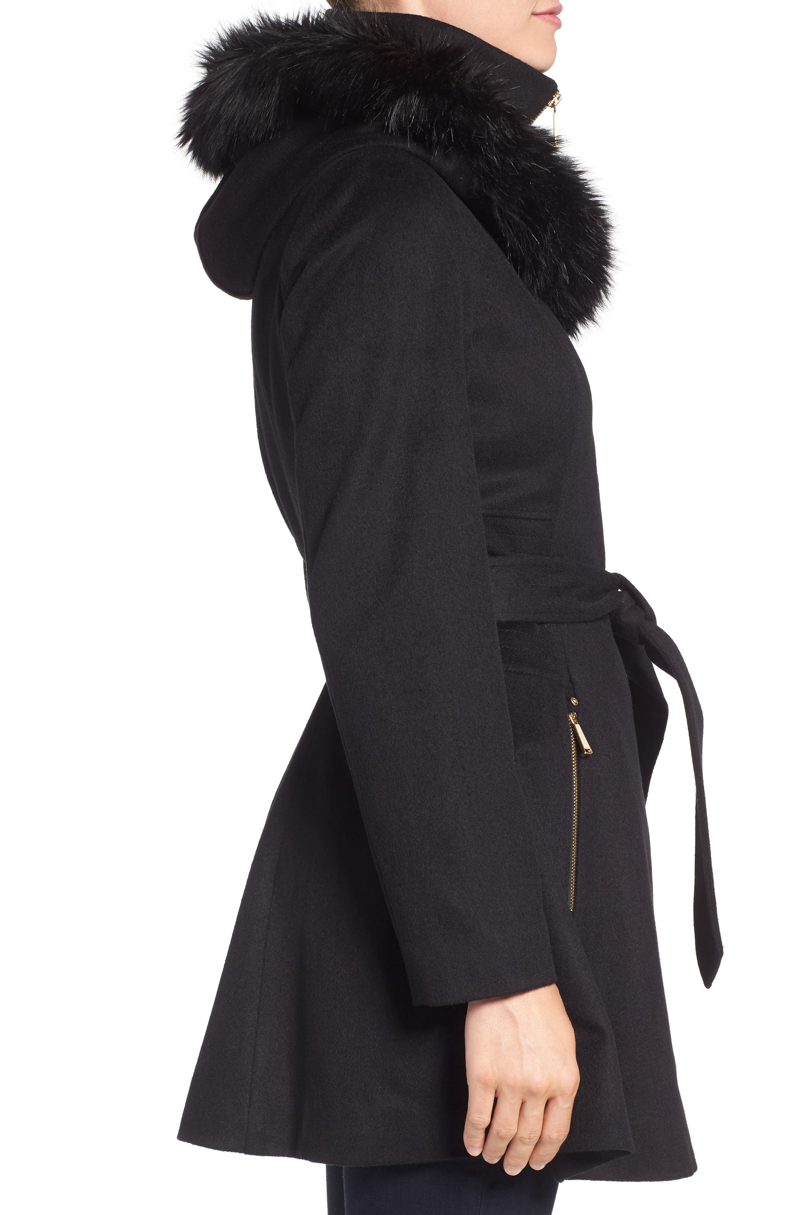 Belted Fit & Flare Coat with Faux Fur Trim,                             Alternate thumbnail 3, color,                             Black