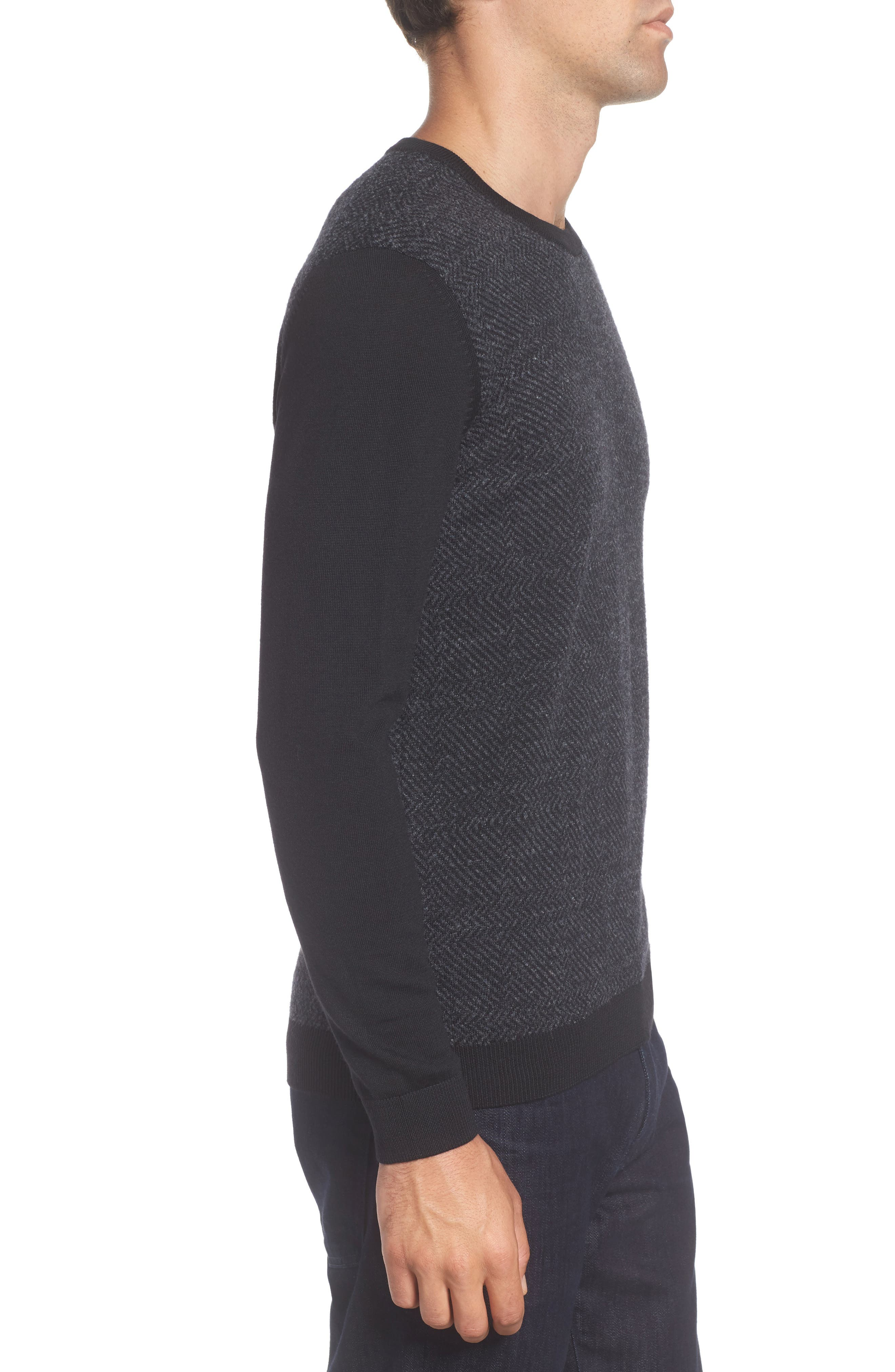 Notto Wool Blend Sweater,                             Alternate thumbnail 3, color,                             Black