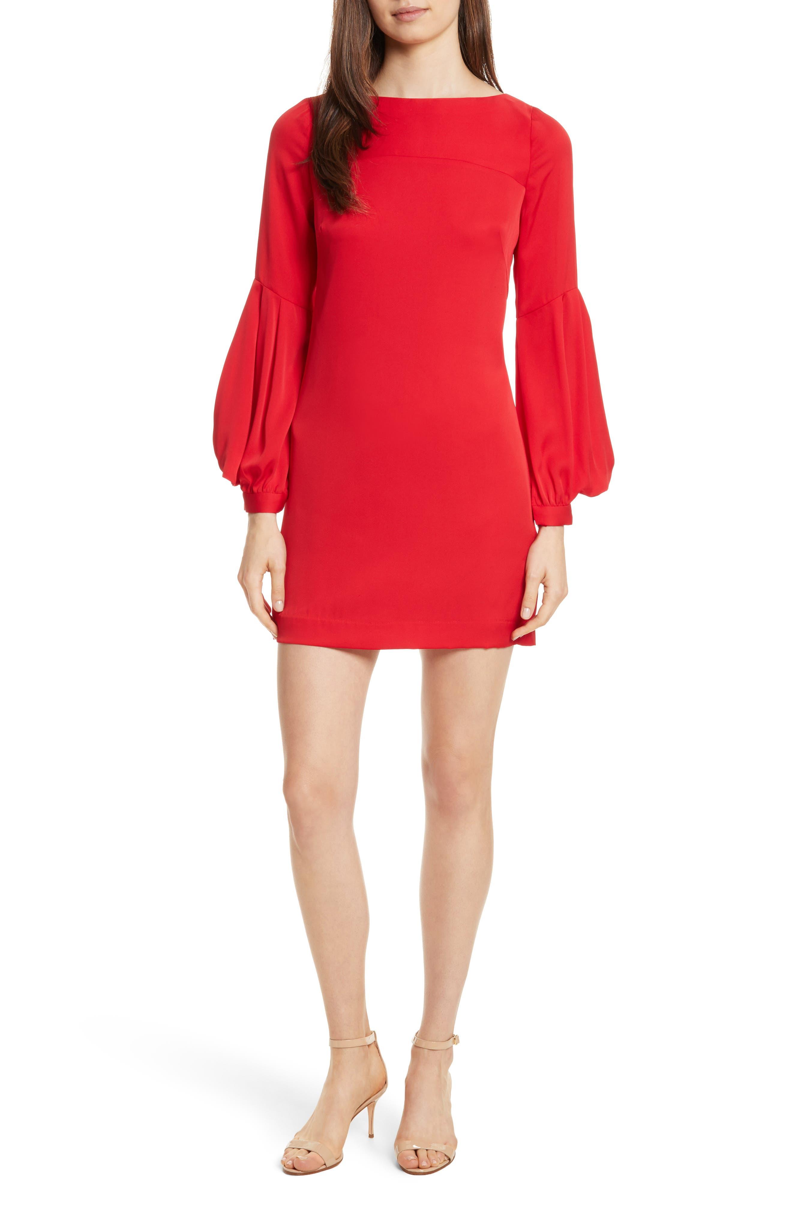 Shana Stretch Silk Bishop Sleeve Dress,                         Main,                         color, Lipstick