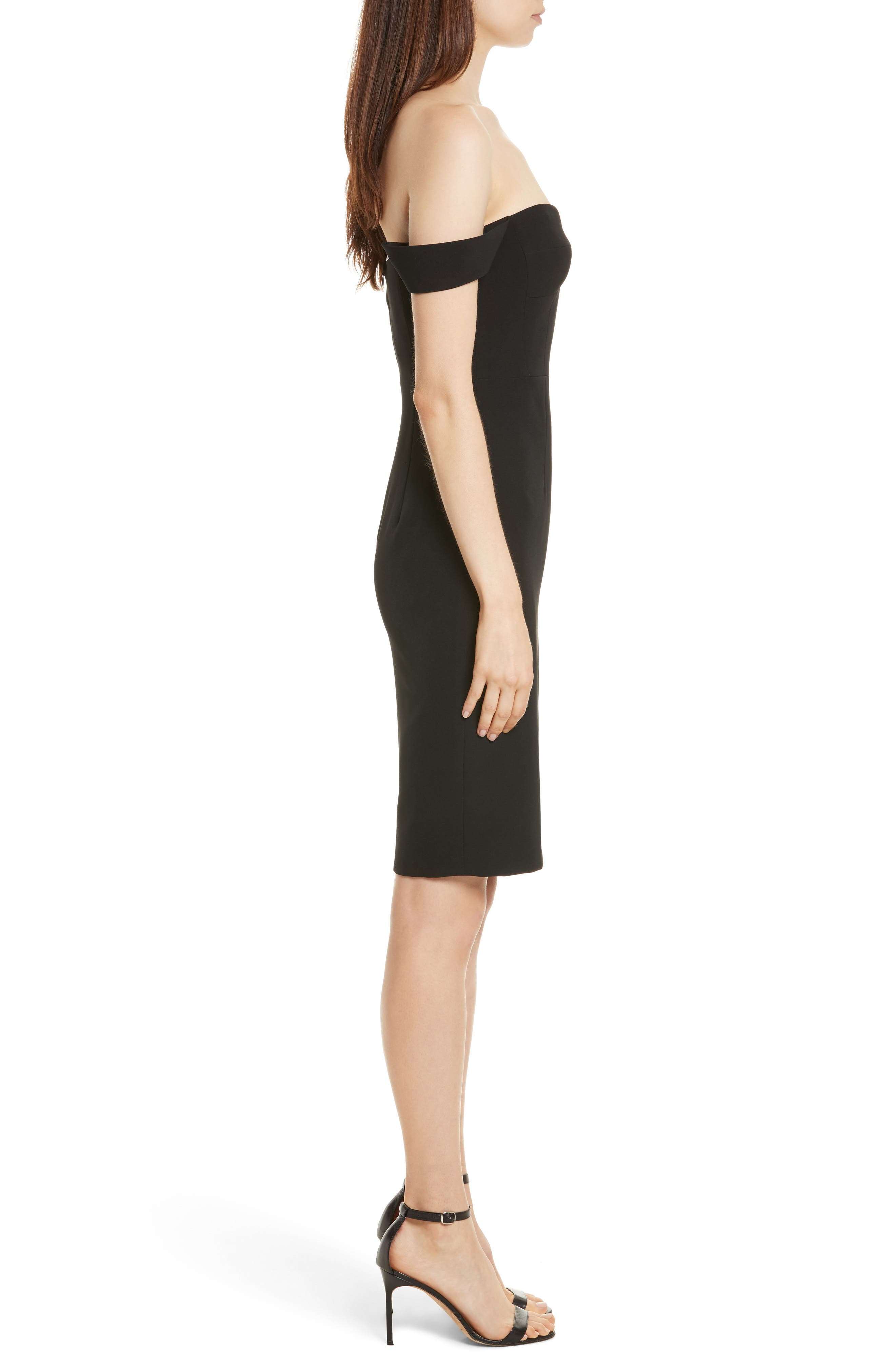 Karen Italian Cady Off the Shoulder Dress,                             Alternate thumbnail 3, color,                             Black