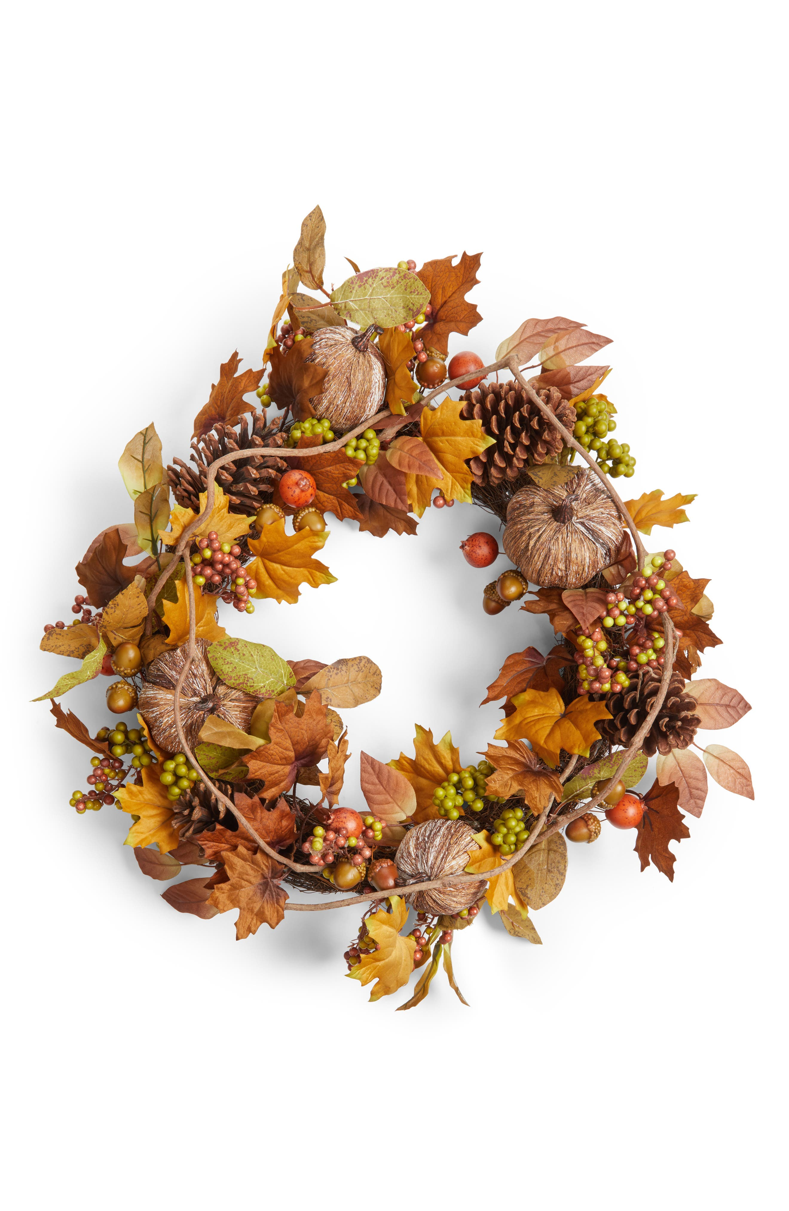 Pumpkin Berry Wreath,                             Main thumbnail 1, color,                             Green/ Brown