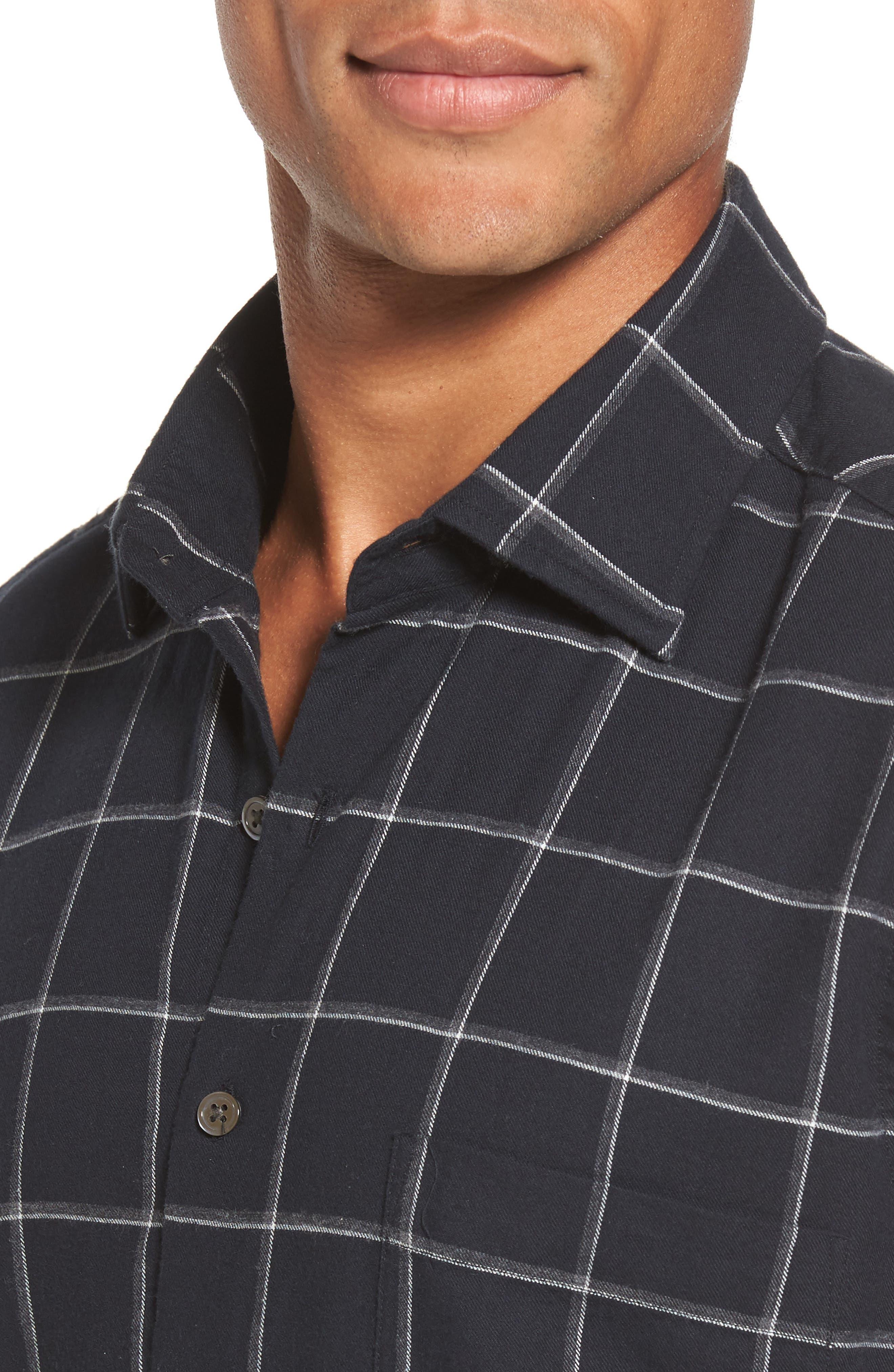 Darlington Sports Fit Windowpane Sport Shirt,                             Alternate thumbnail 2, color,                             Nero