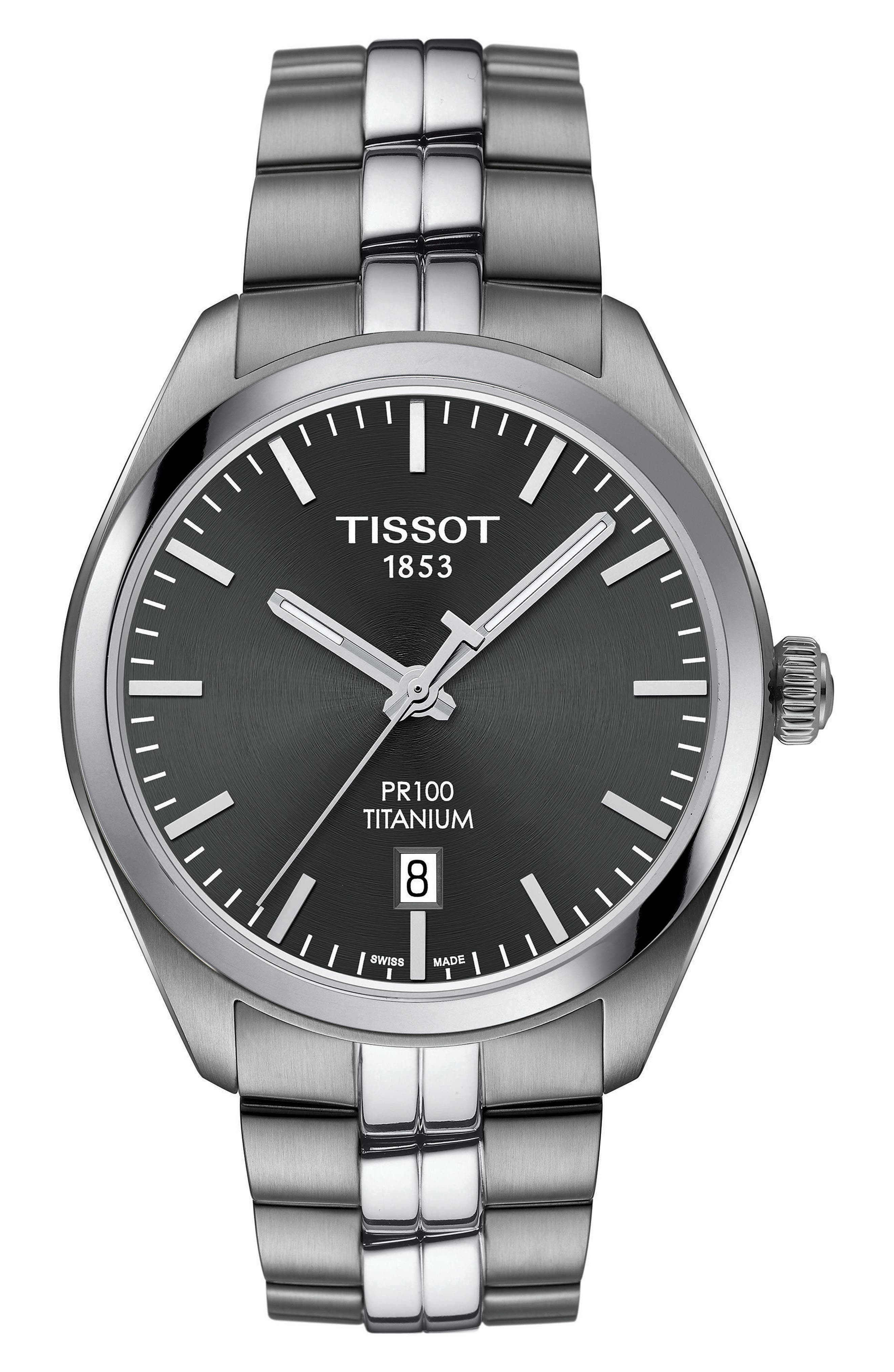 Alternate Image 1 Selected - Tissot PR100 Titanium Bracelet Watch, 39mm