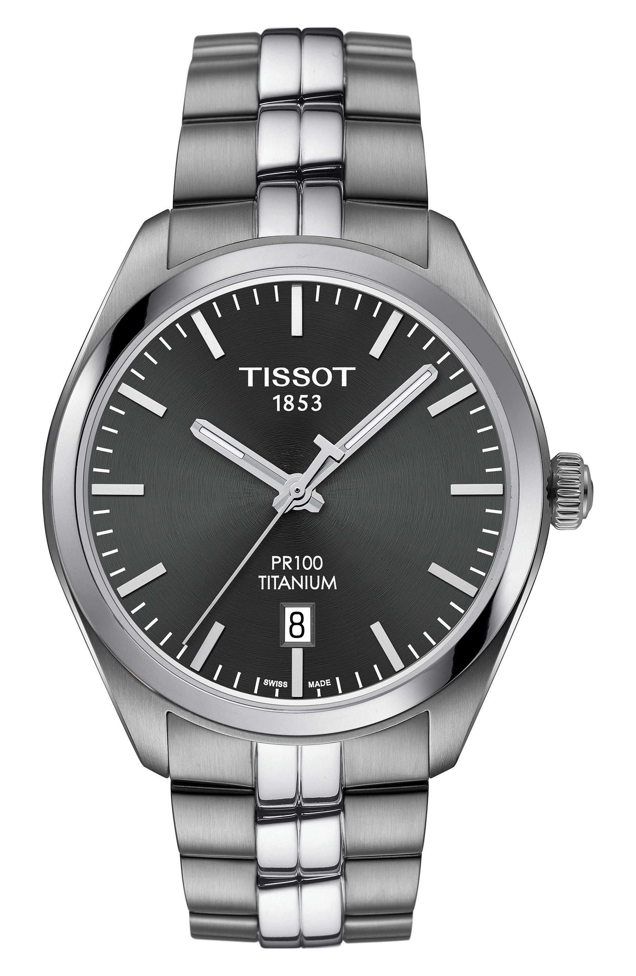 PR100 Titanium Bracelet Watch, 39mm,                         Main,                         color, Silver/ Anthracite/ Silver