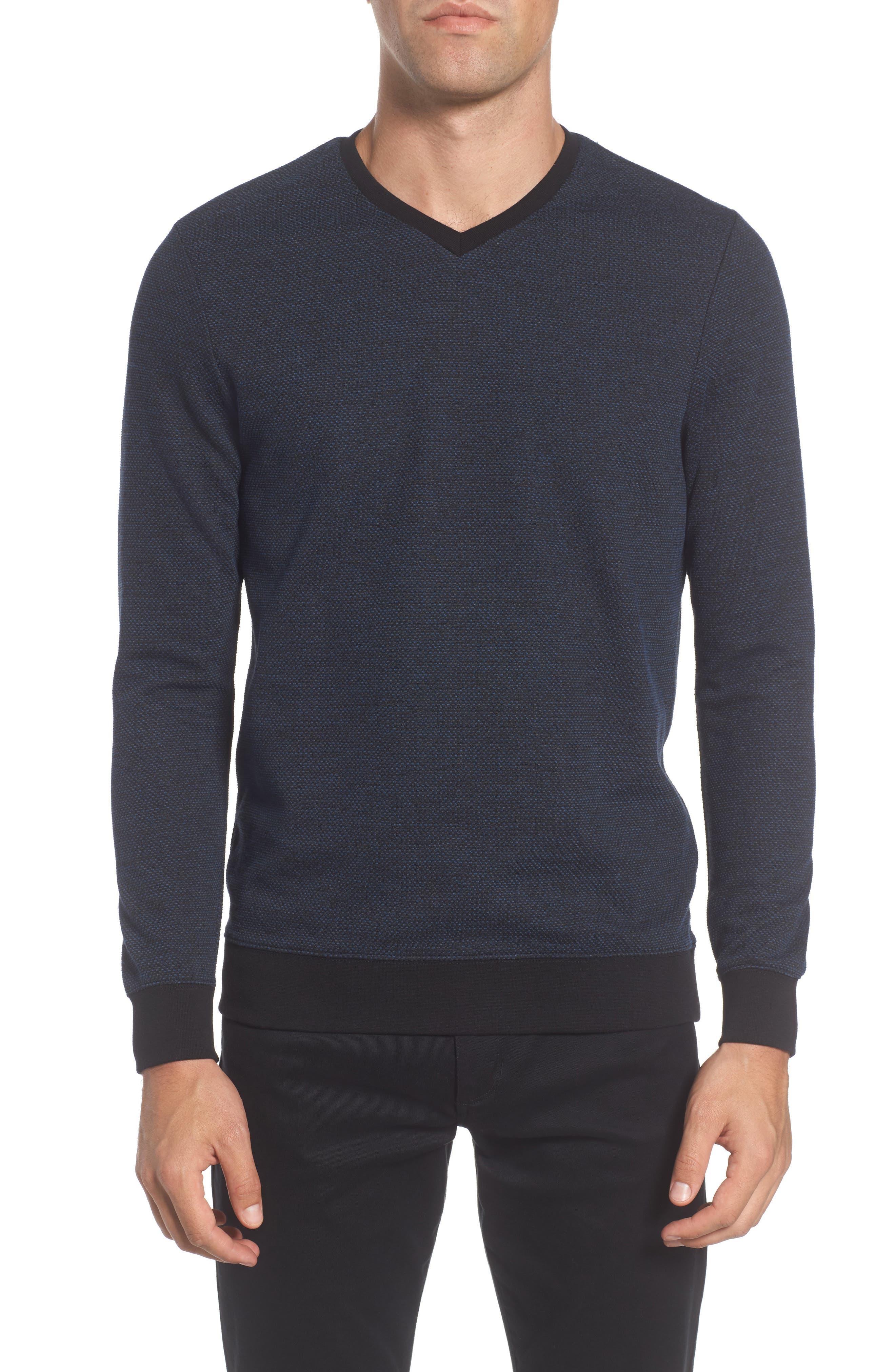 Trim Fit Mélange Pullover,                         Main,                         color, Navy/ Black