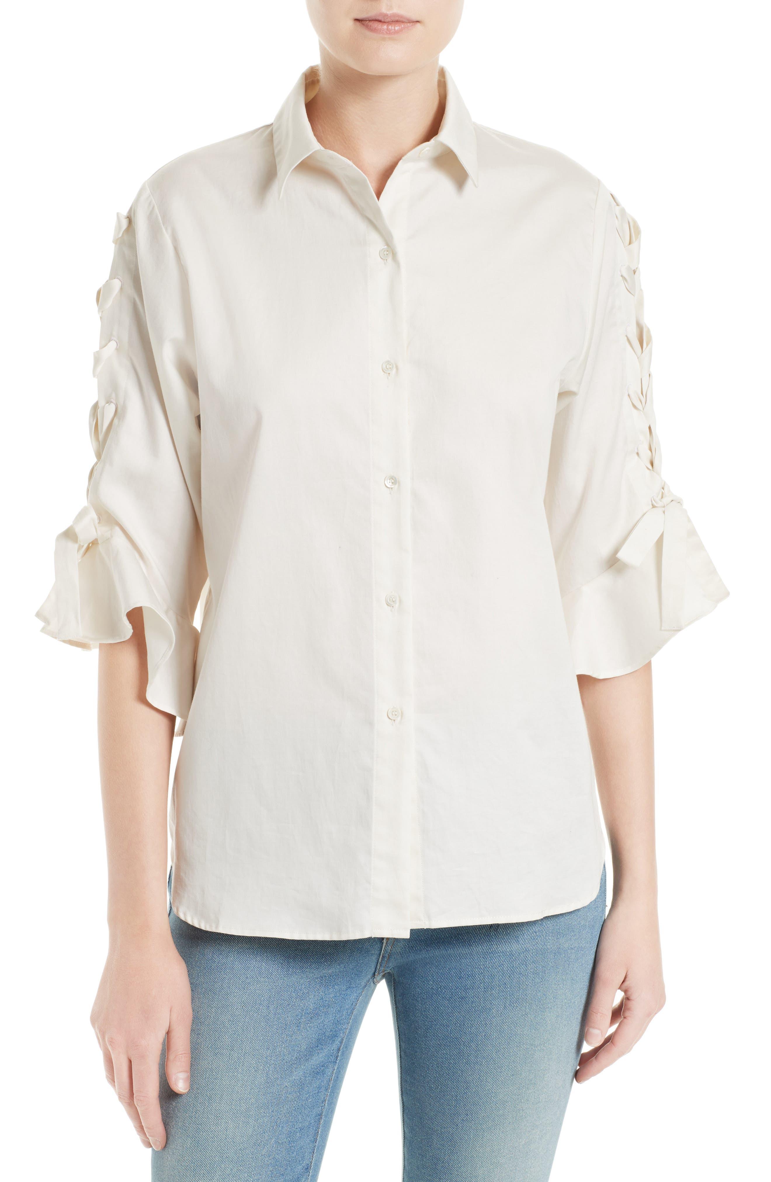 IRO Armley Lace-Up Sleeve Cotton Shirt