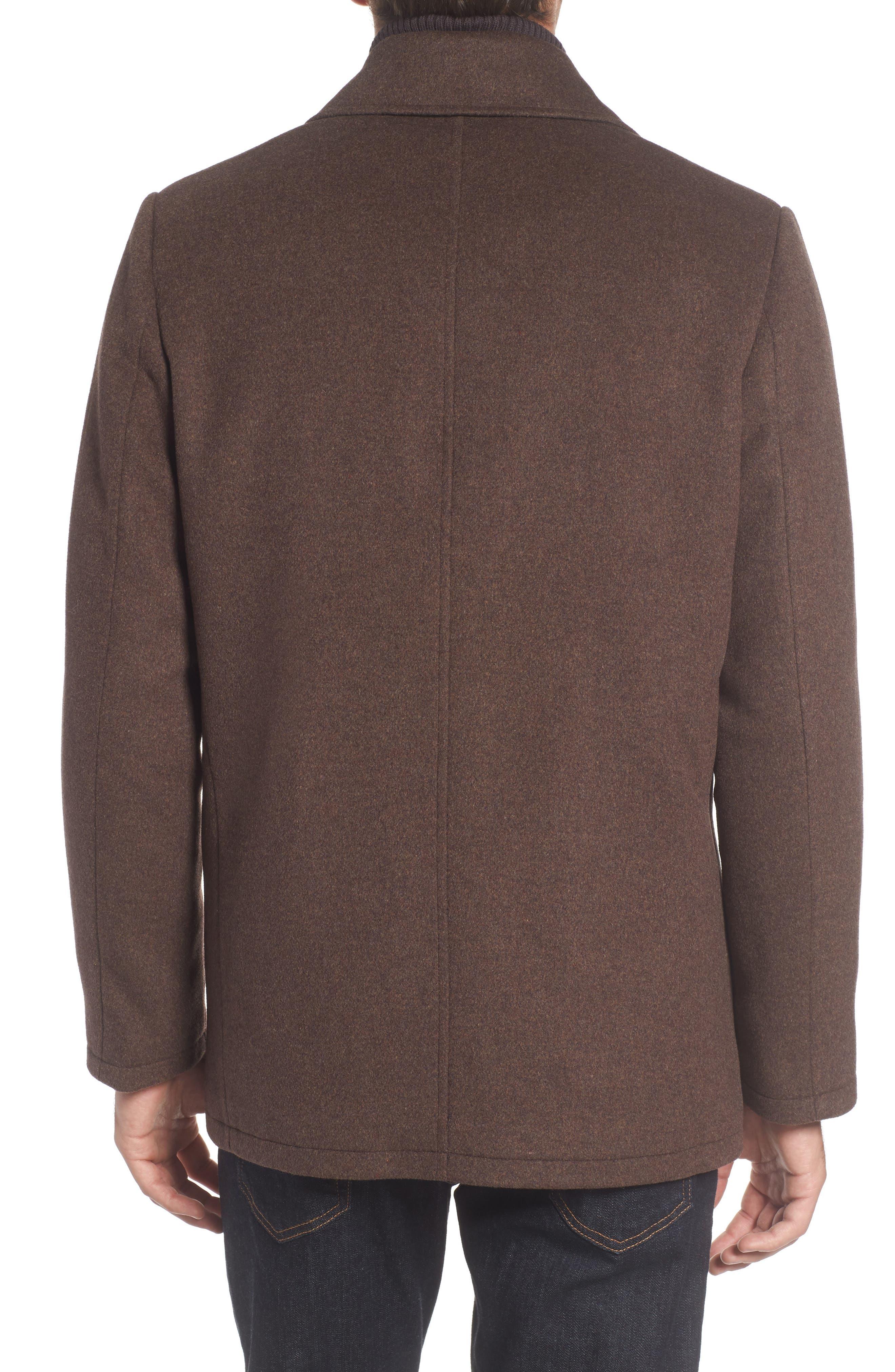 Wool Blend Peacoat,                             Alternate thumbnail 2, color,                             Medium Brown