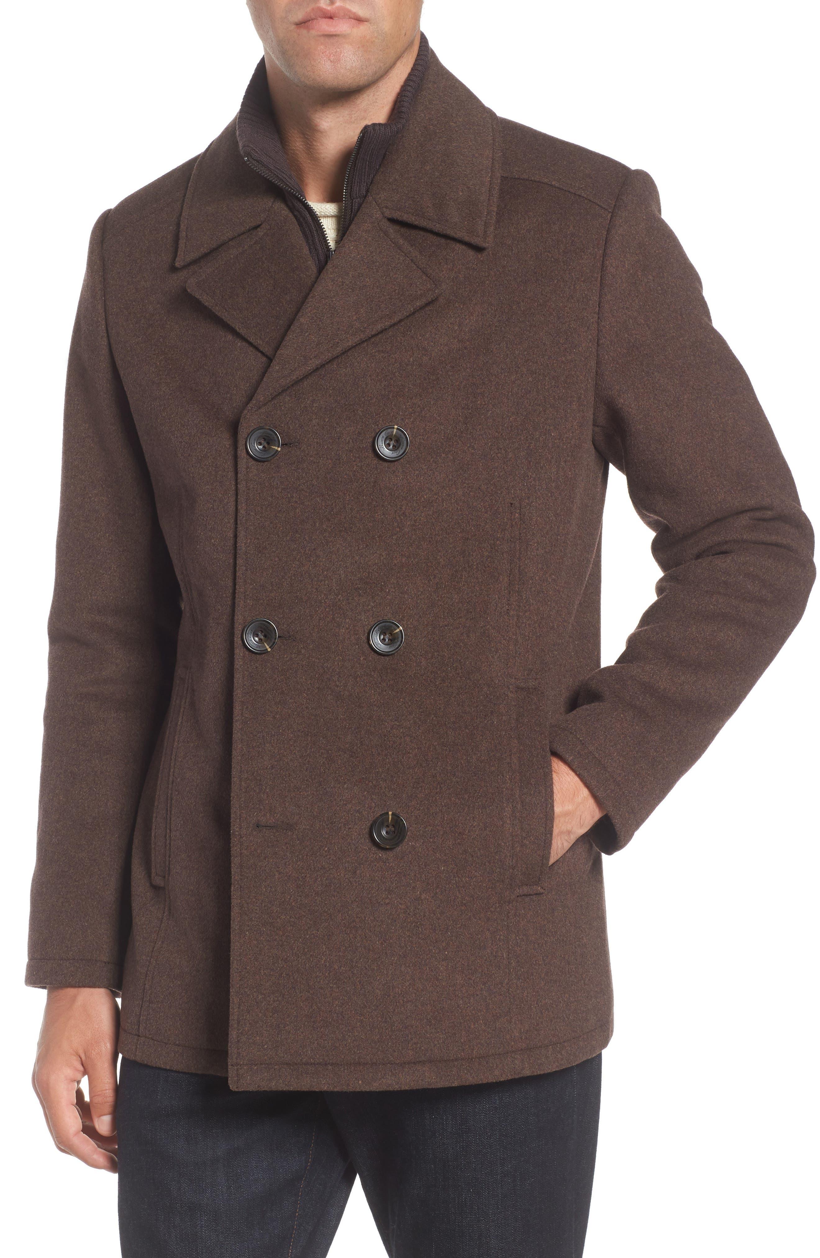 Wool Blend Peacoat,                         Main,                         color, Medium Brown