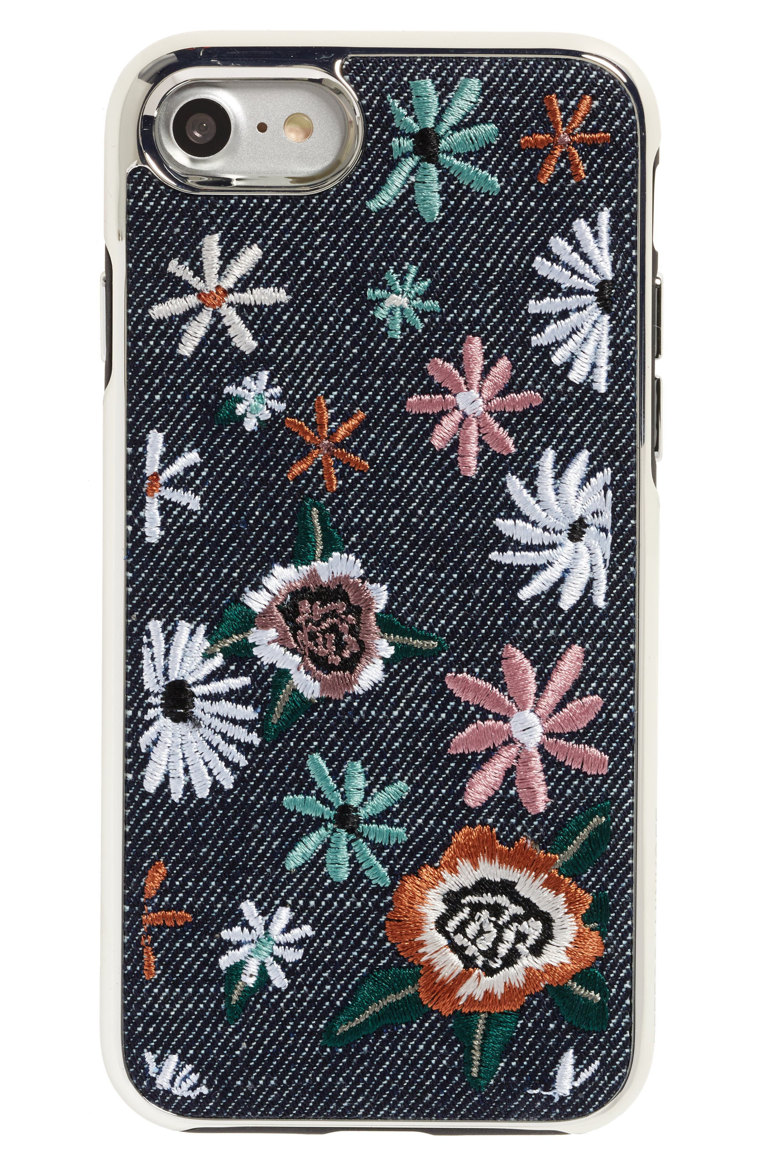 Luxe Double Up Embroidered iPhone 7/8 Case,                             Main thumbnail 1, color,                             Black Floral