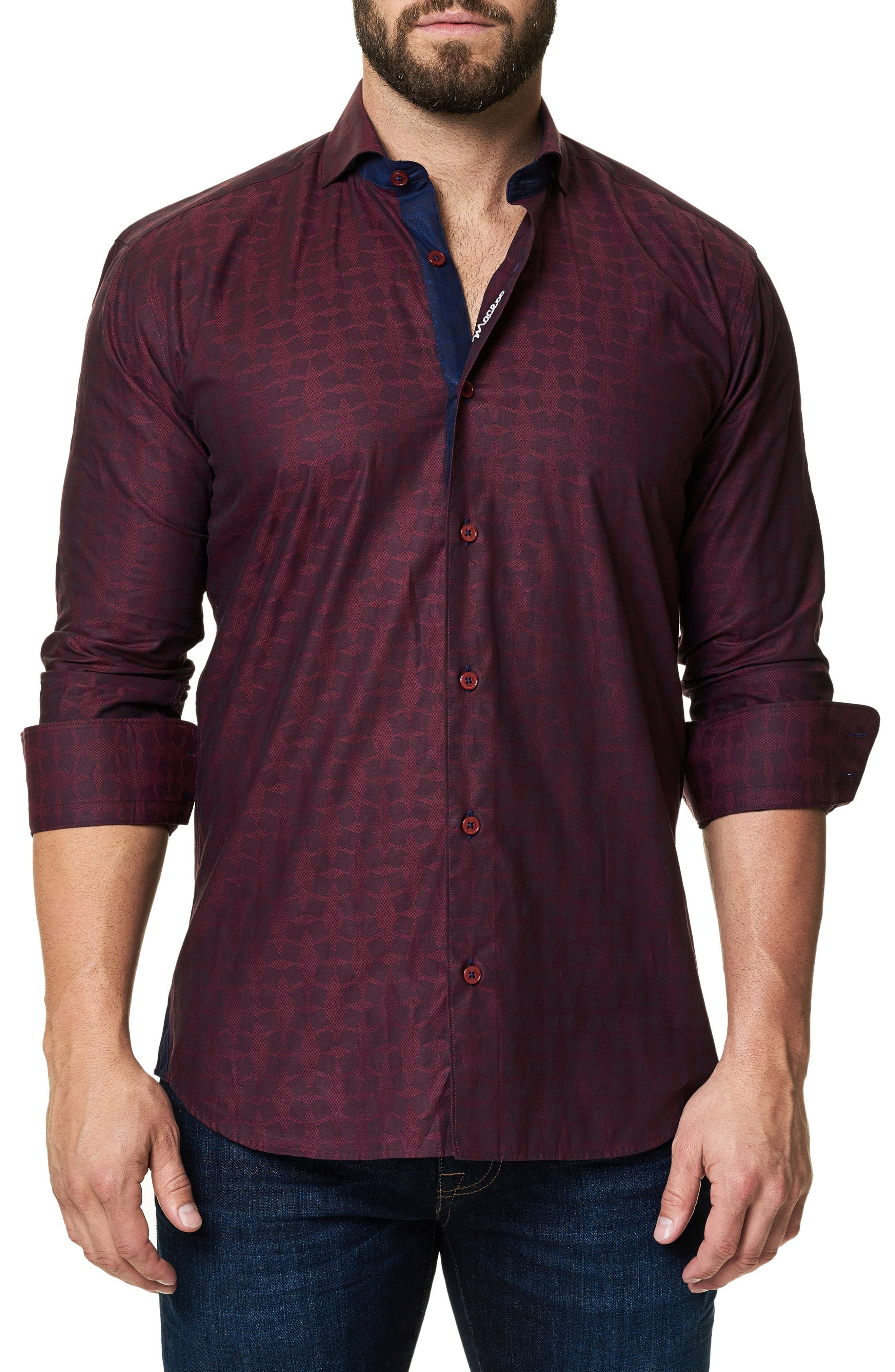 Trim Fit Print Sport Shirt,                         Main,                         color, Burgundy