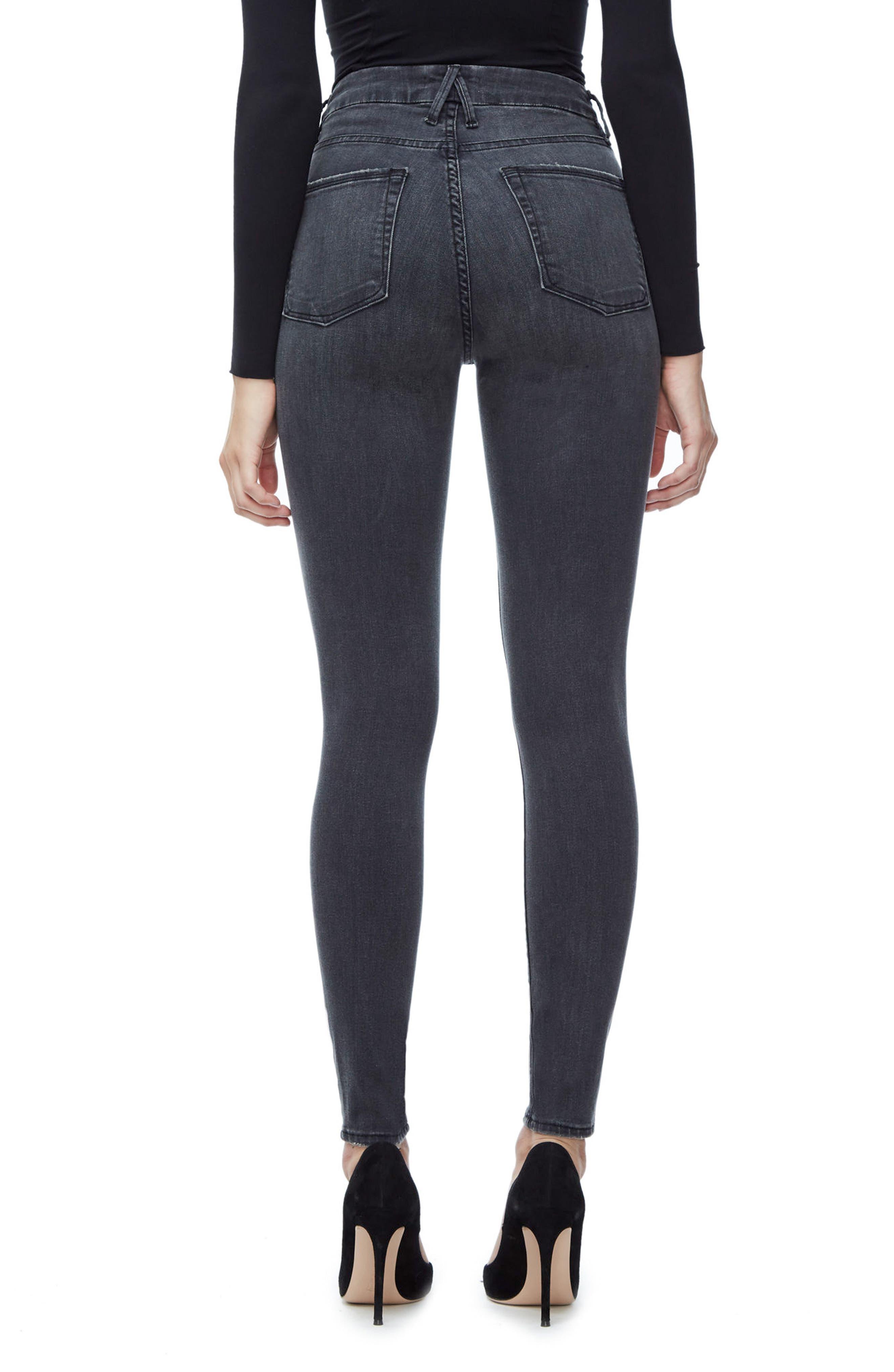 Good Waist High Waist Ripped Skinny Jeans,                             Alternate thumbnail 2, color,                             Black 009